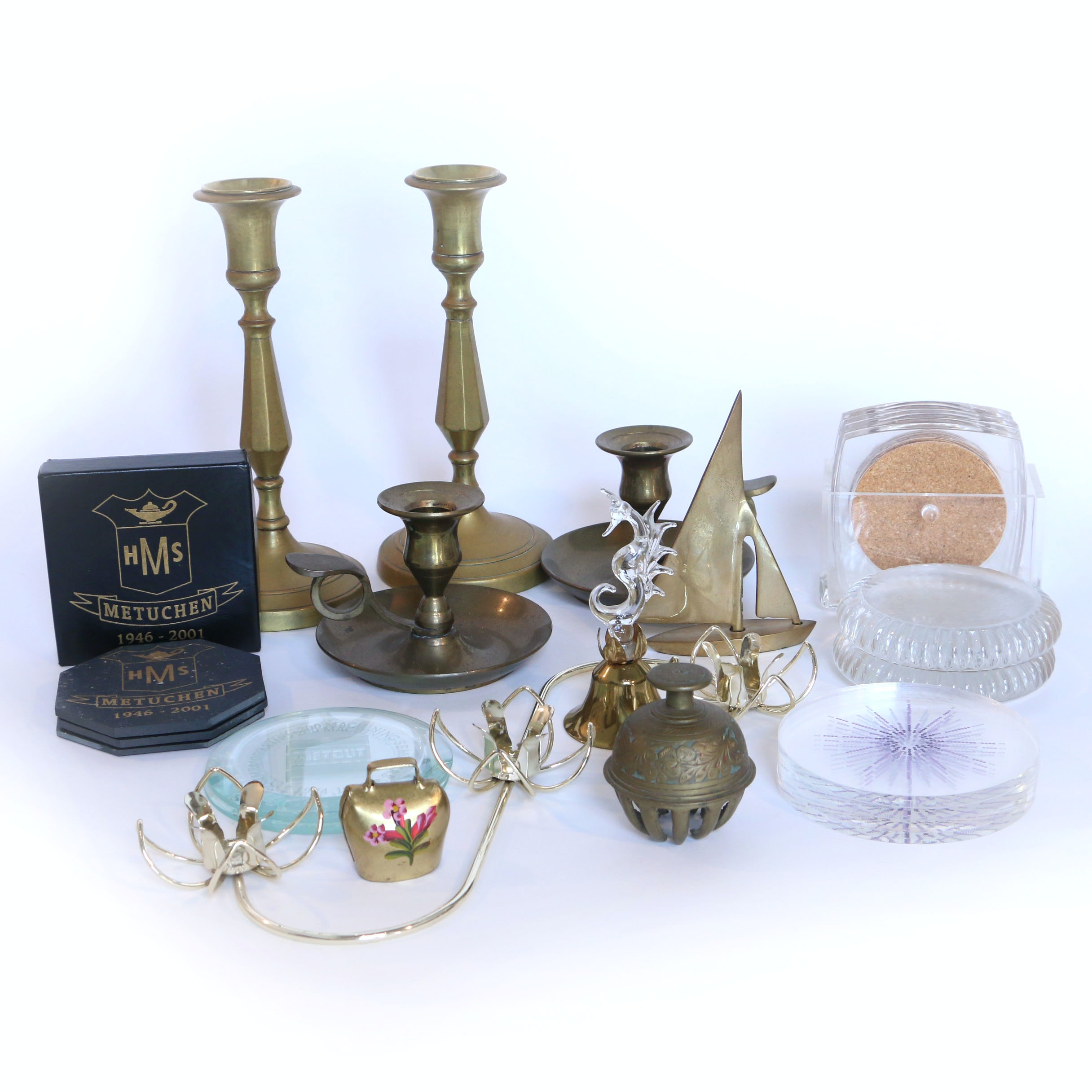 Assorted Brass Decor and Coasters
