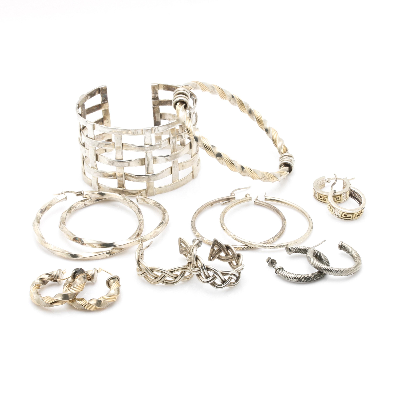 Selection of Sterling Silver Bracelets and Hoop Earrings