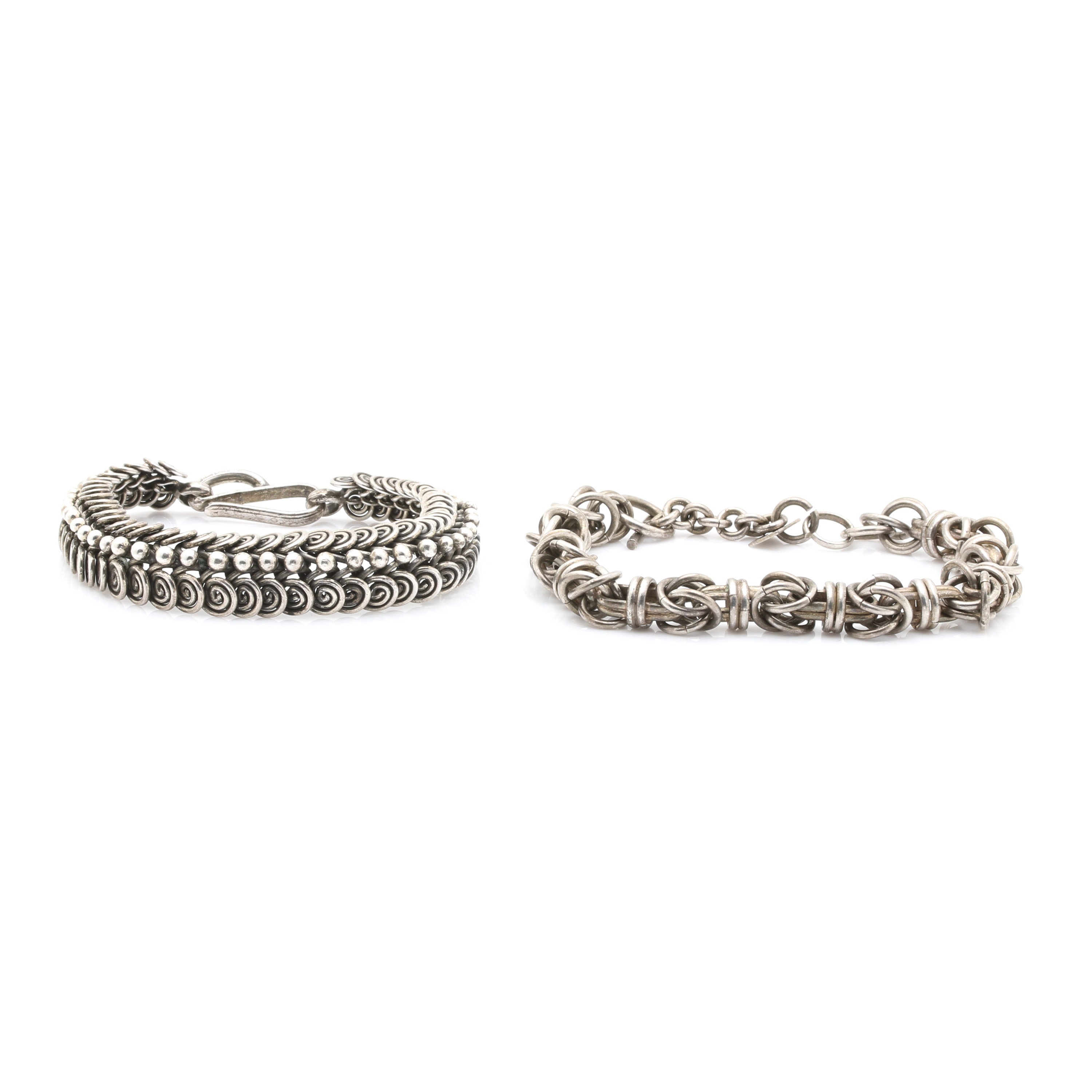 Pair of Sterling Silver Bracelets Including Taxco