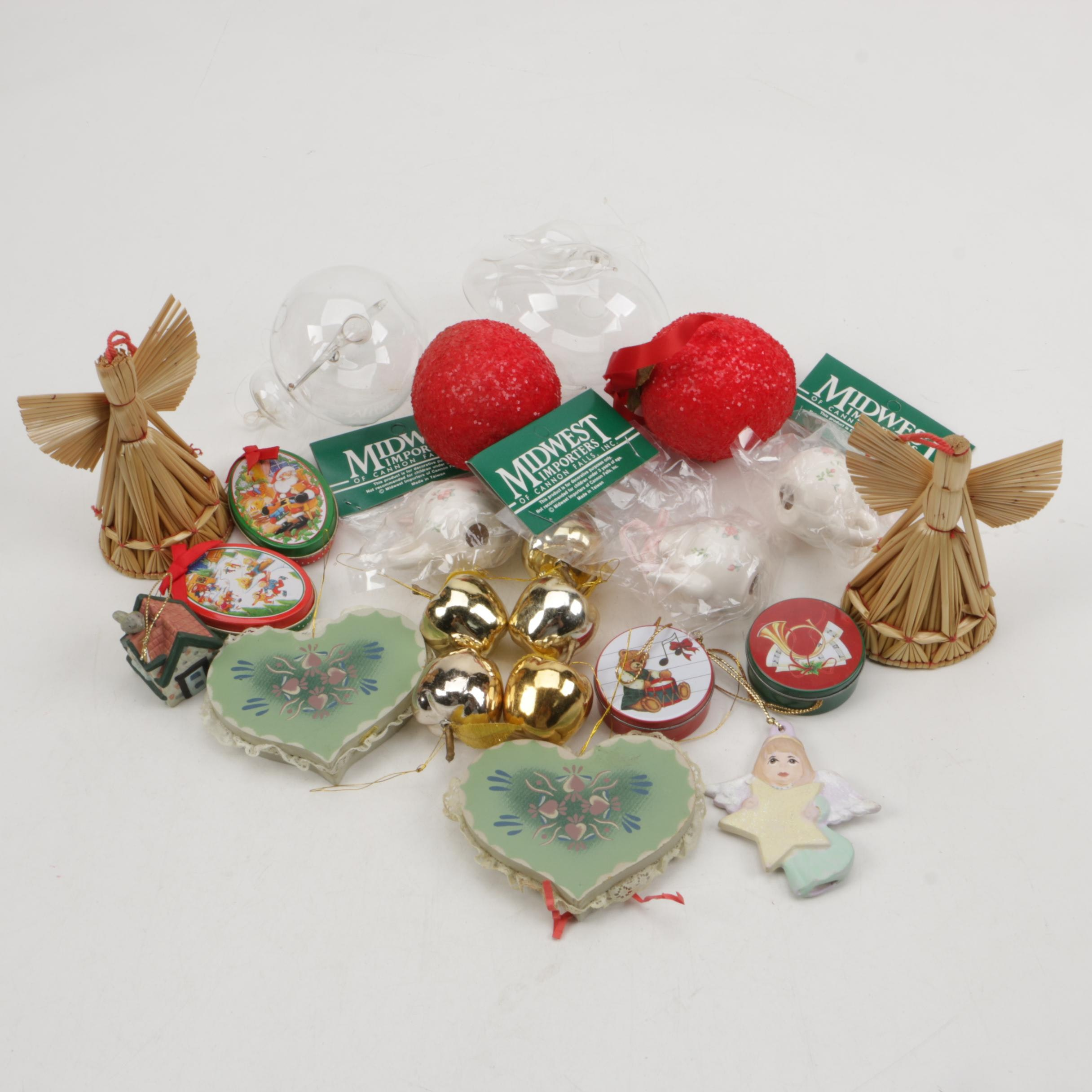 Glass and Straw Christmas Ornaments