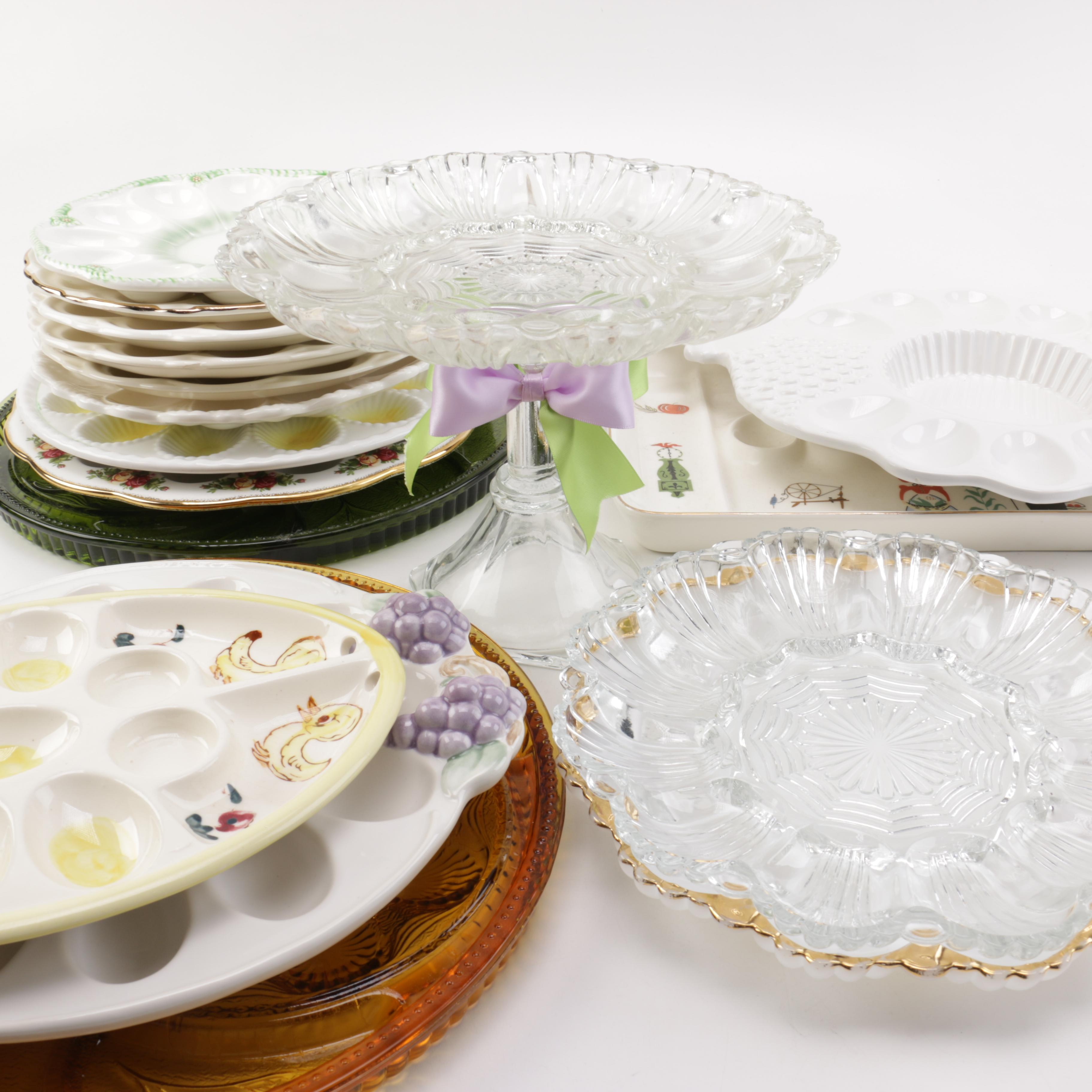 Vintage Deviled Egg Plates and Glass Serving Stand