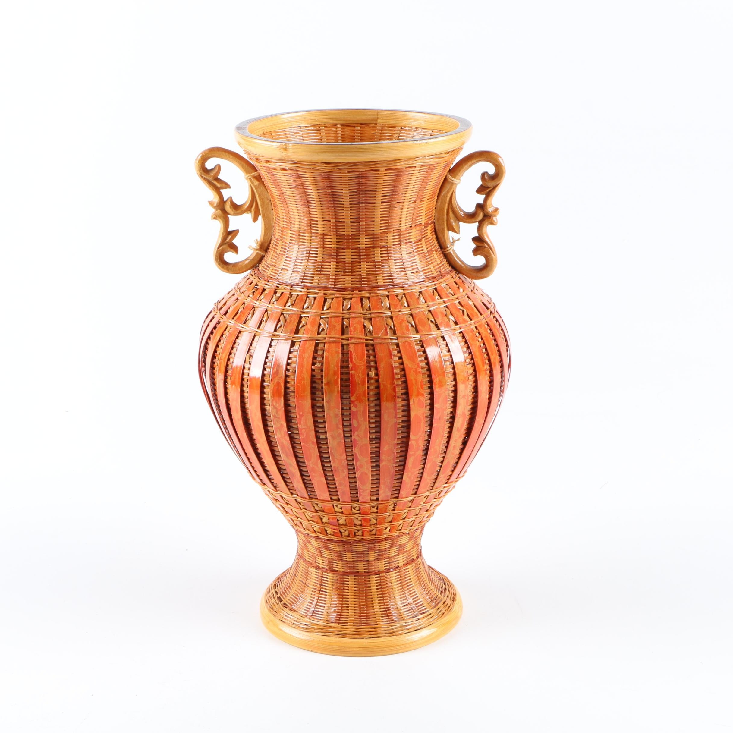 Wicker Vase with Metal Liner