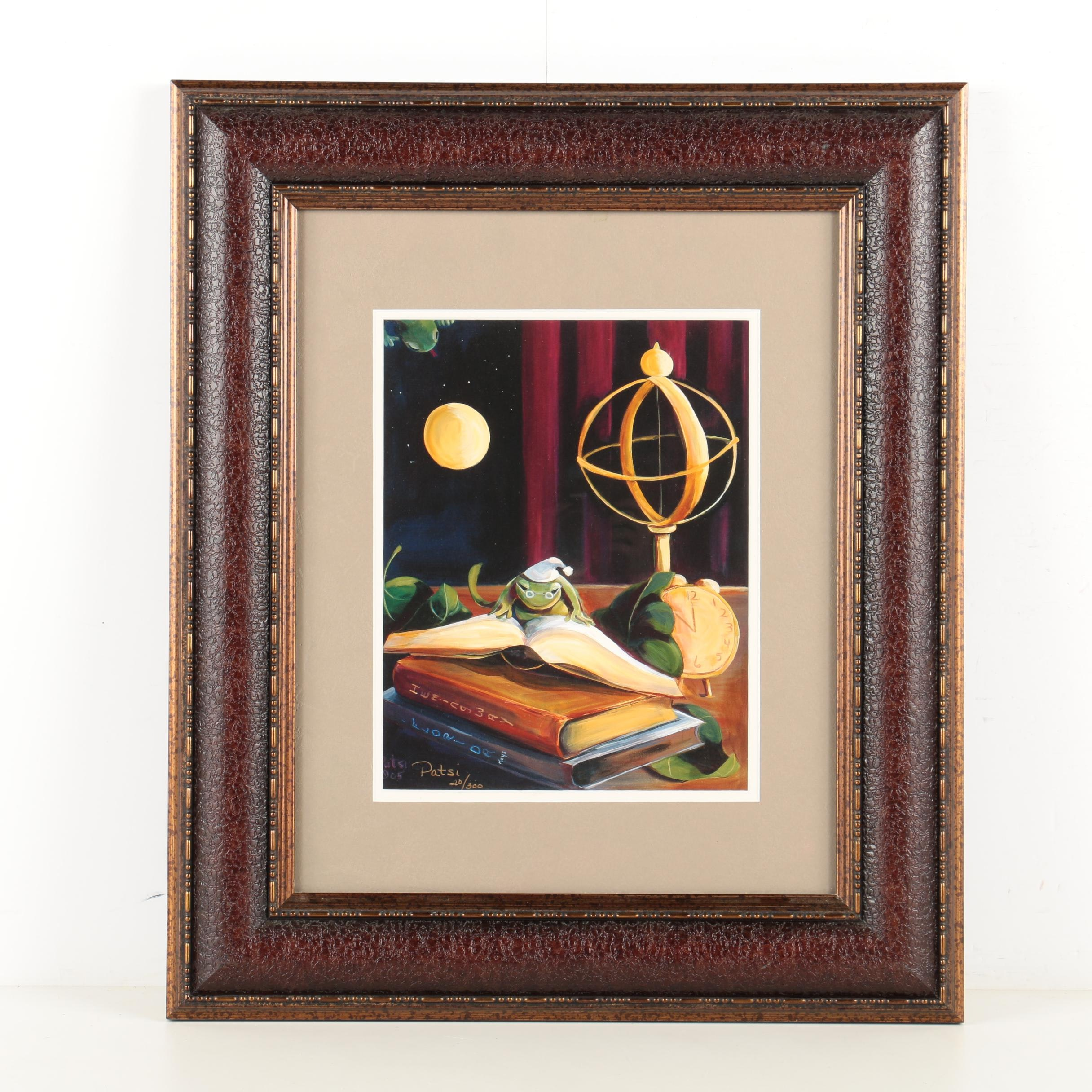 Patsi Limited Edition Print of a Frog Reading a Book