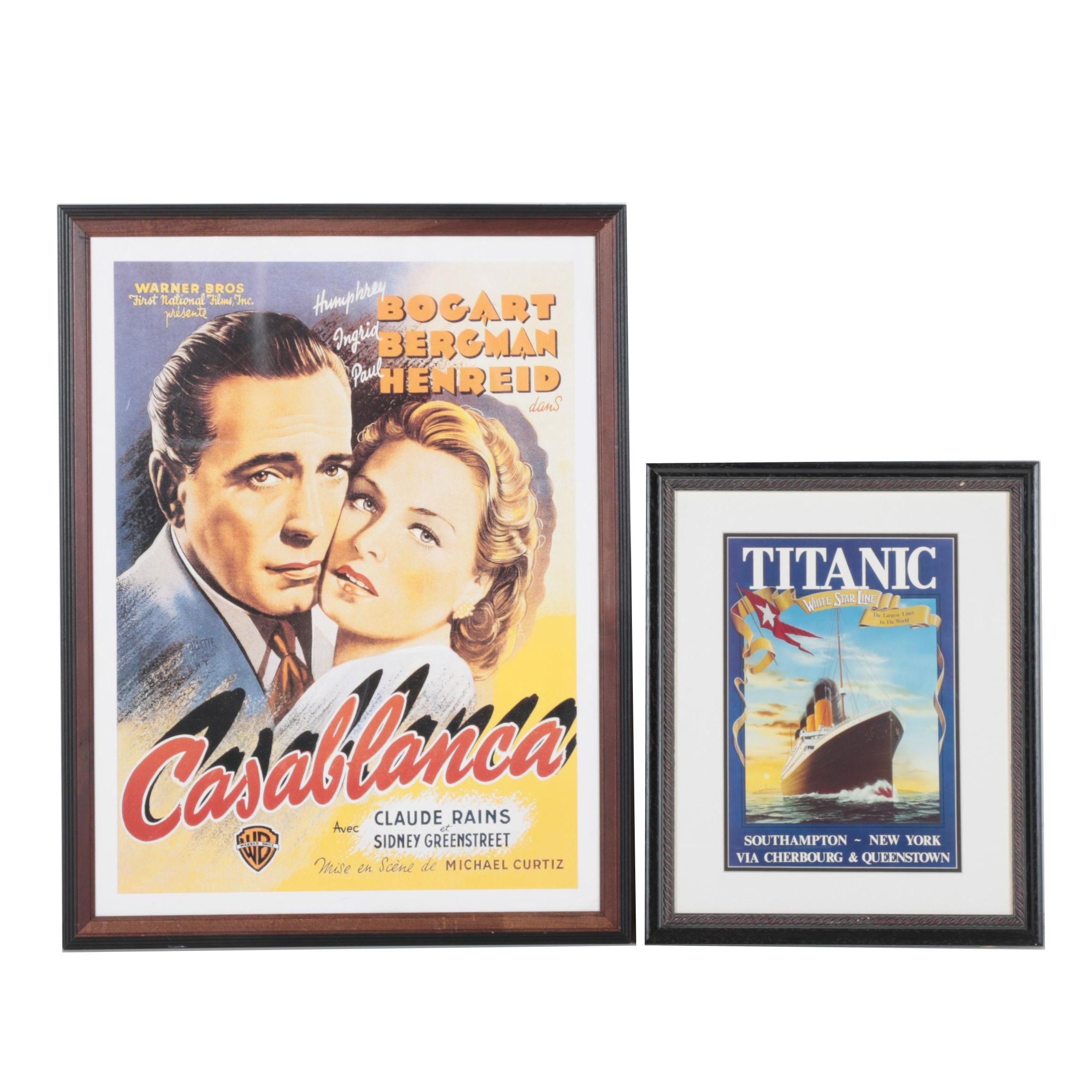 "Pair of Offset Lithograph Posters featuring Movie Poster ""Casablanca"" and Reproduction Oceanliner Ad for ""Titanic"""