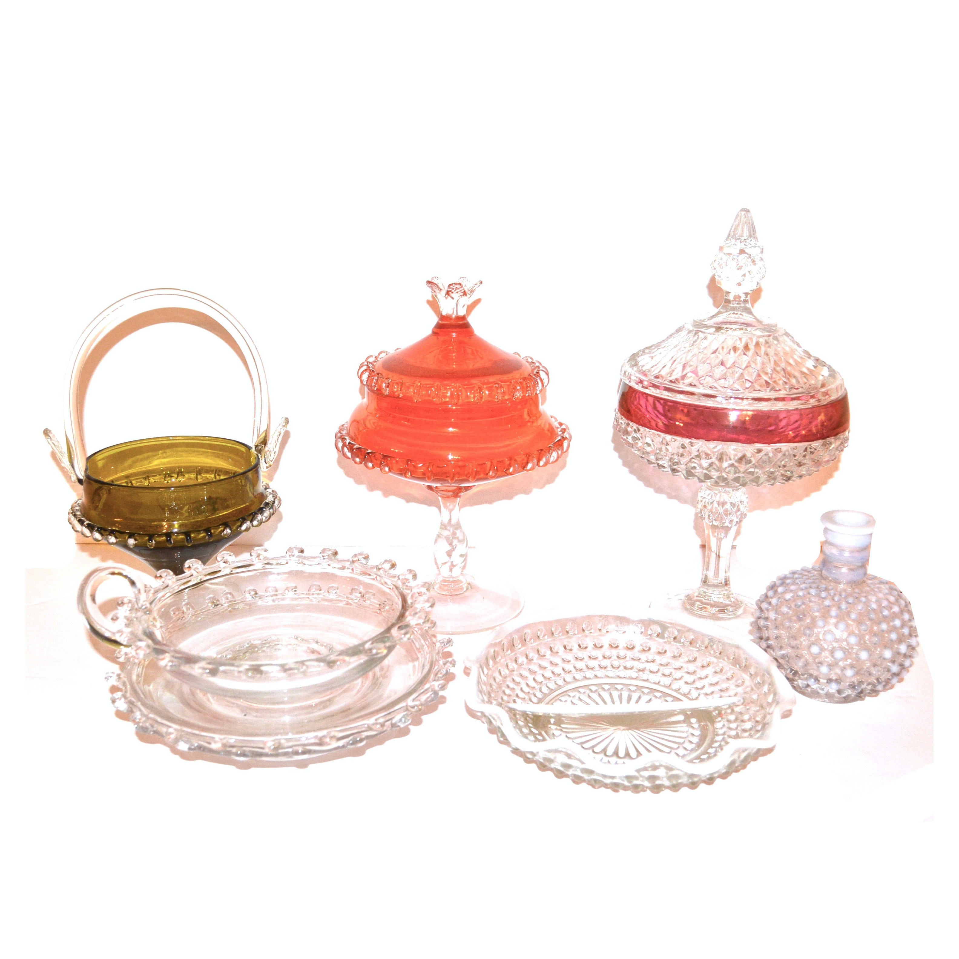 Vintage Fenton Hobnail Dishes and Assorted Glassware