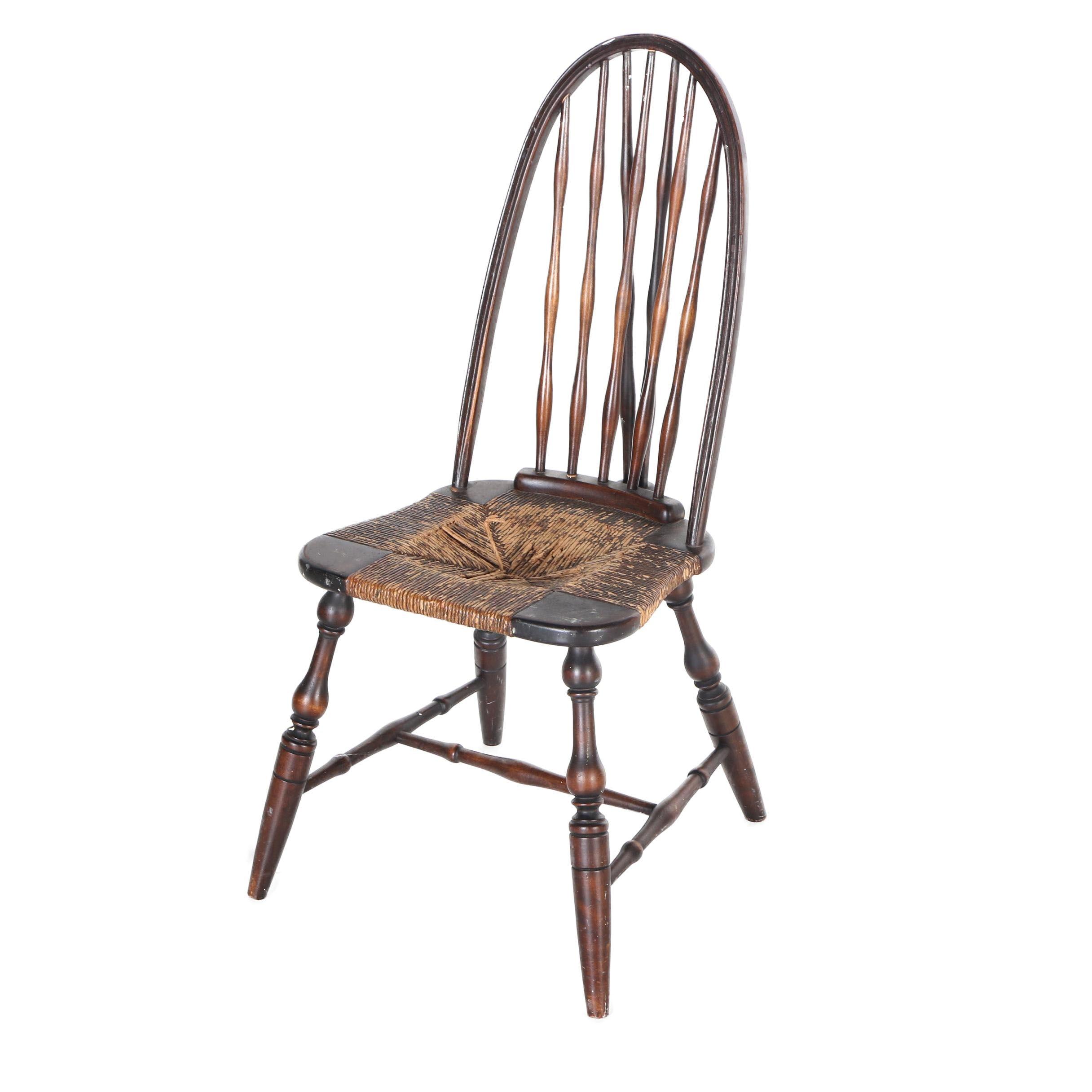 Vintage Windsor Style Braceback Side Chair