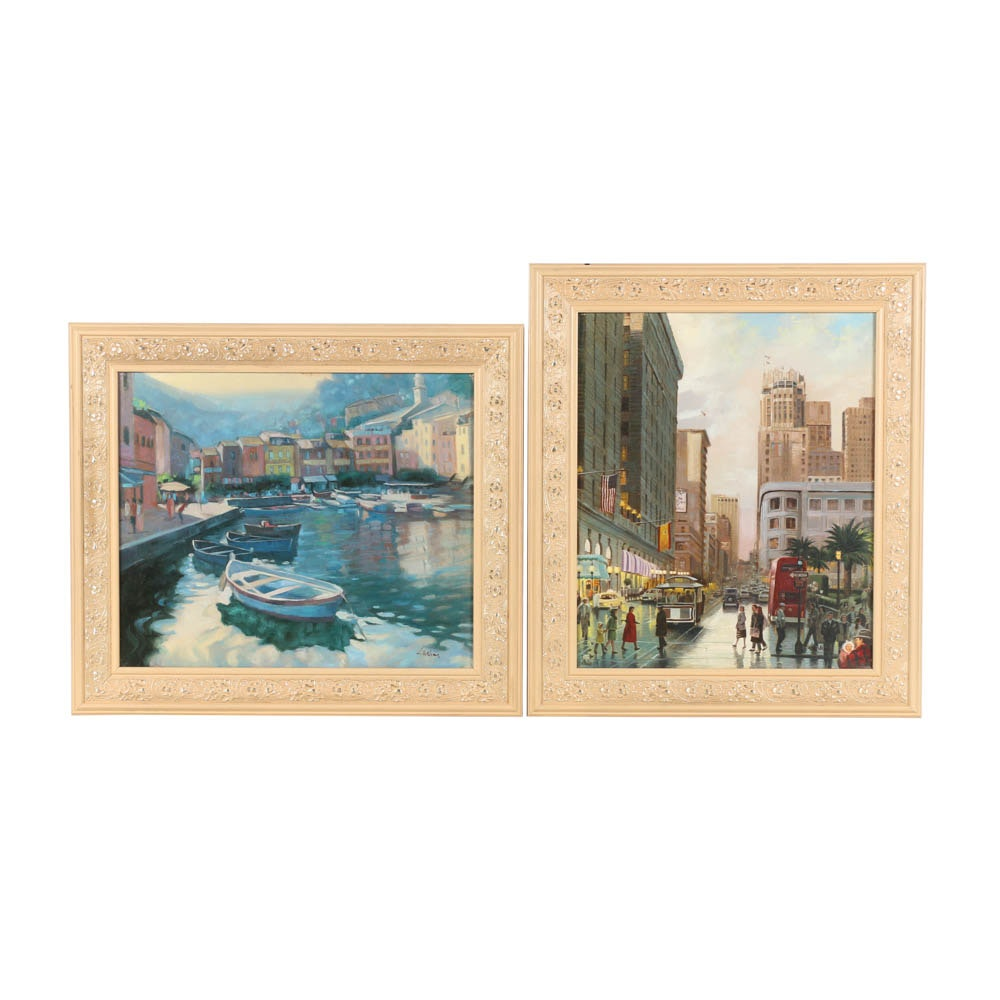 L. Williams Embellished Giclee Prints of a Harbor Scene and City Street View