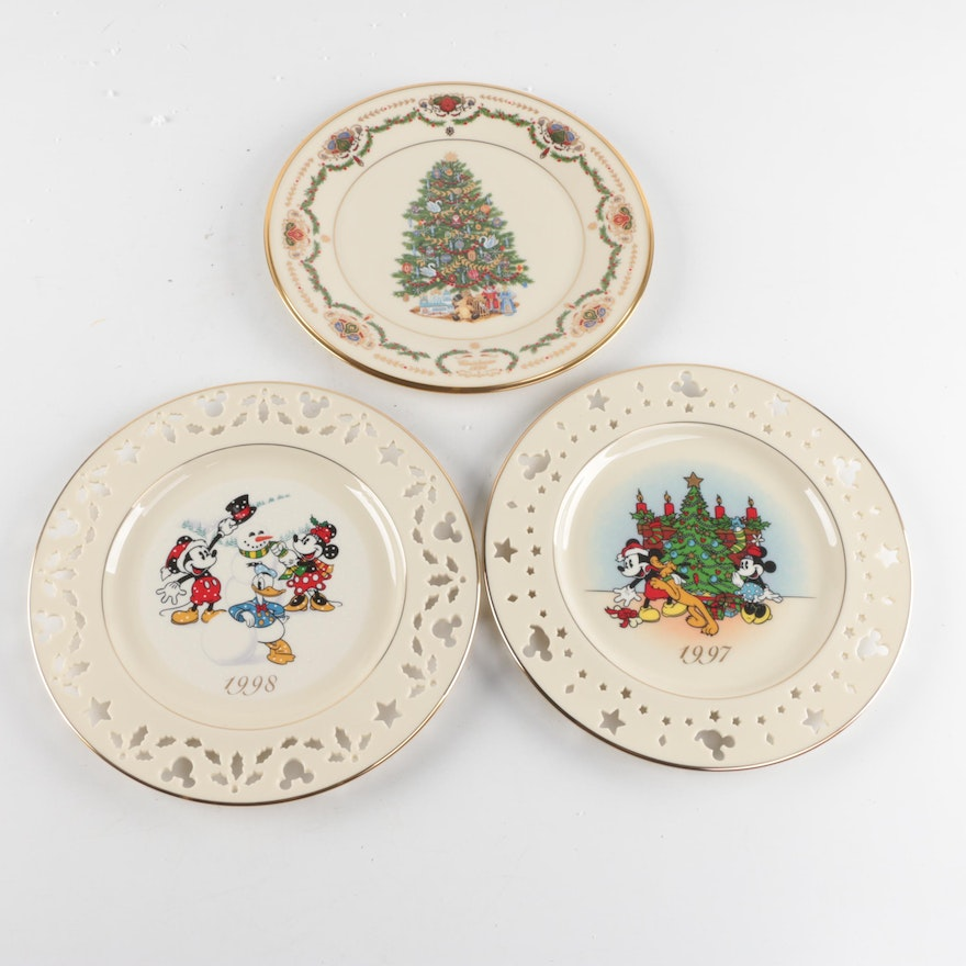 collection of lenox christmas plates including disney