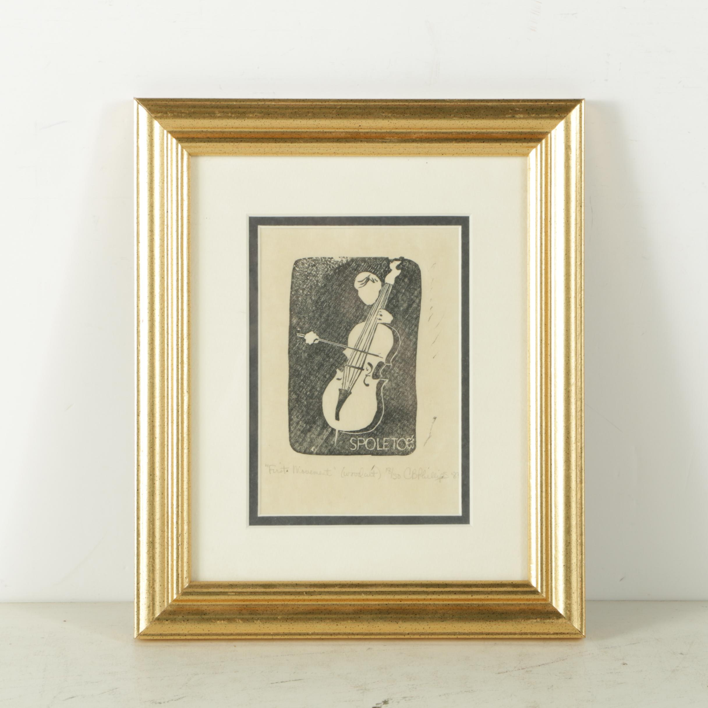 "CB Phillips Limited Edition Woodcut Print ""First Movement"""