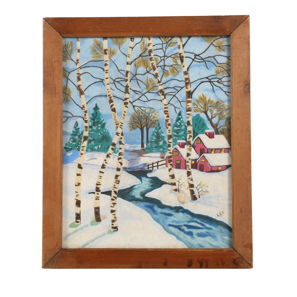 Acrylic Painting on Canvas Board Folk Style Landscape with Cottage