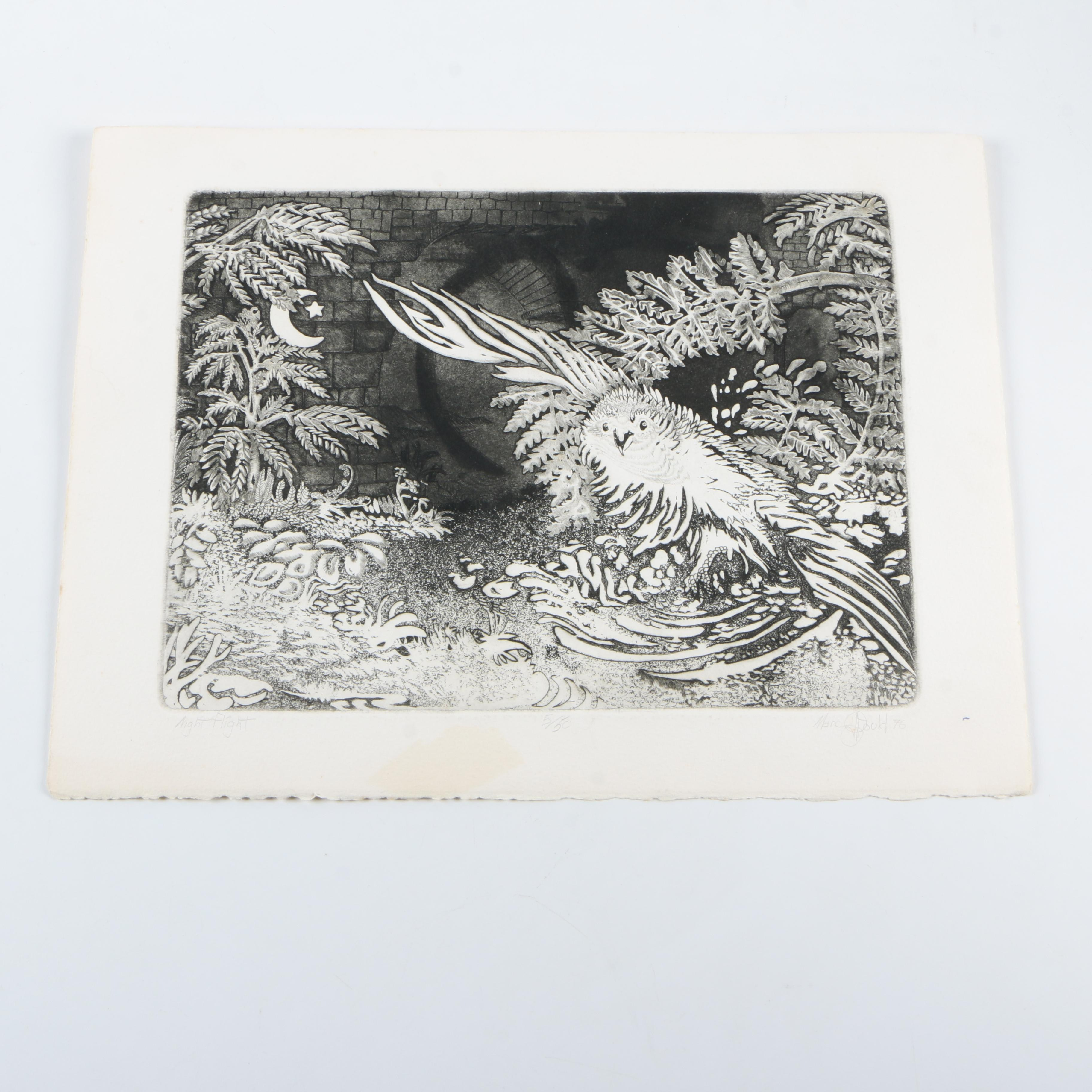 """Marc Dould Limited Edition Drypoint Etching """"Night Flight"""""""