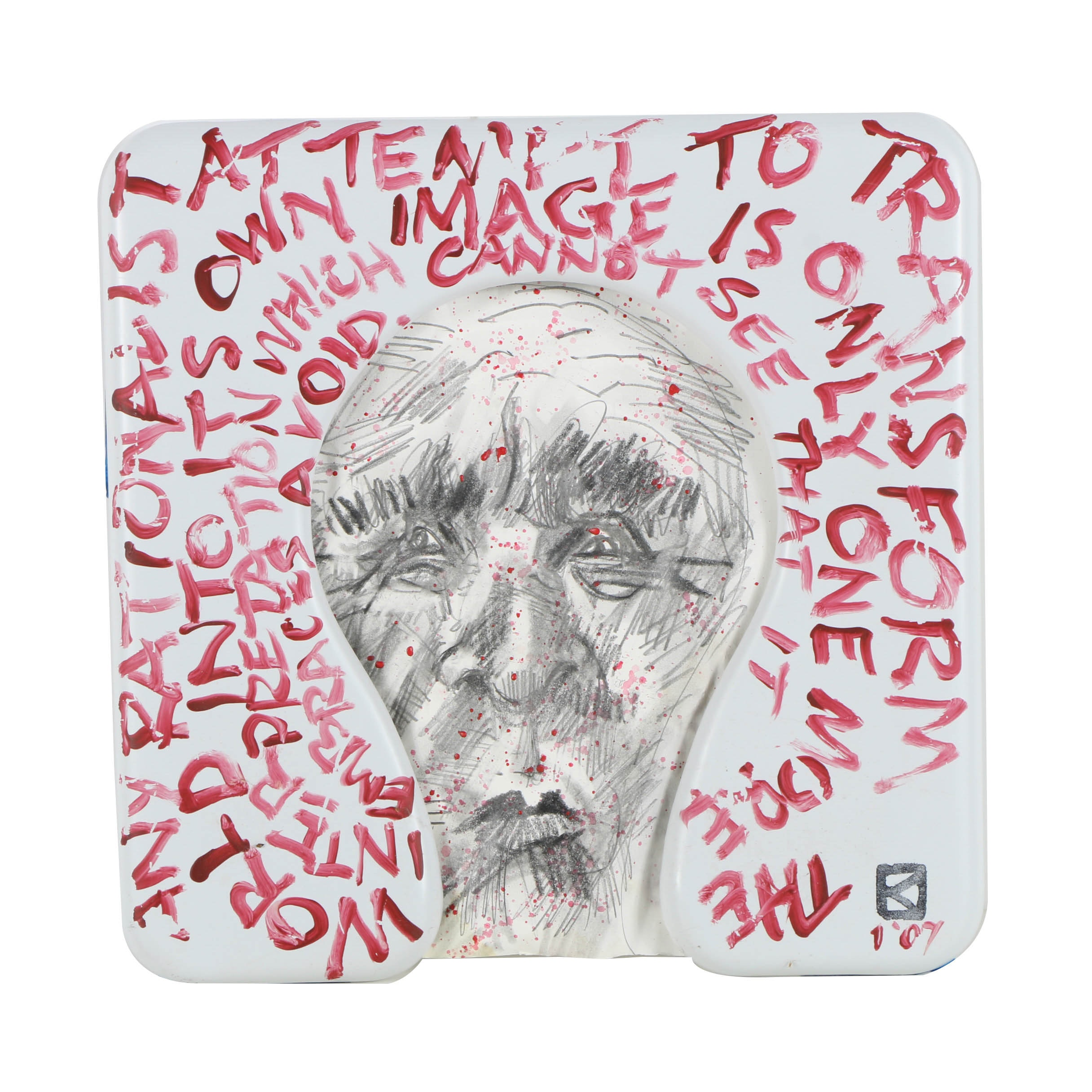 Frank Kowing Mixed Media Sculpture Abstract Portrait of a Man