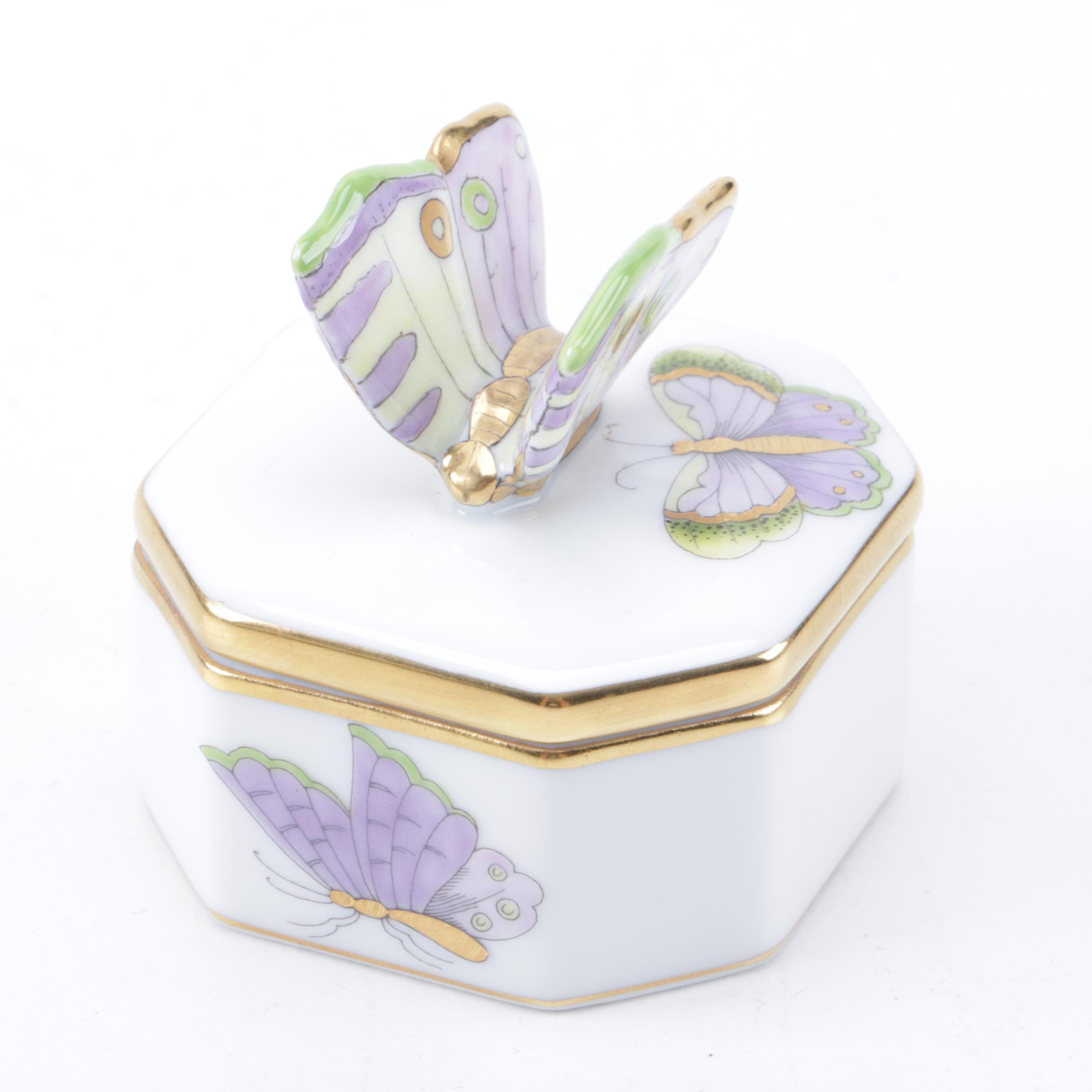 Herend Hungary Trinket Box with Butterfly Motif