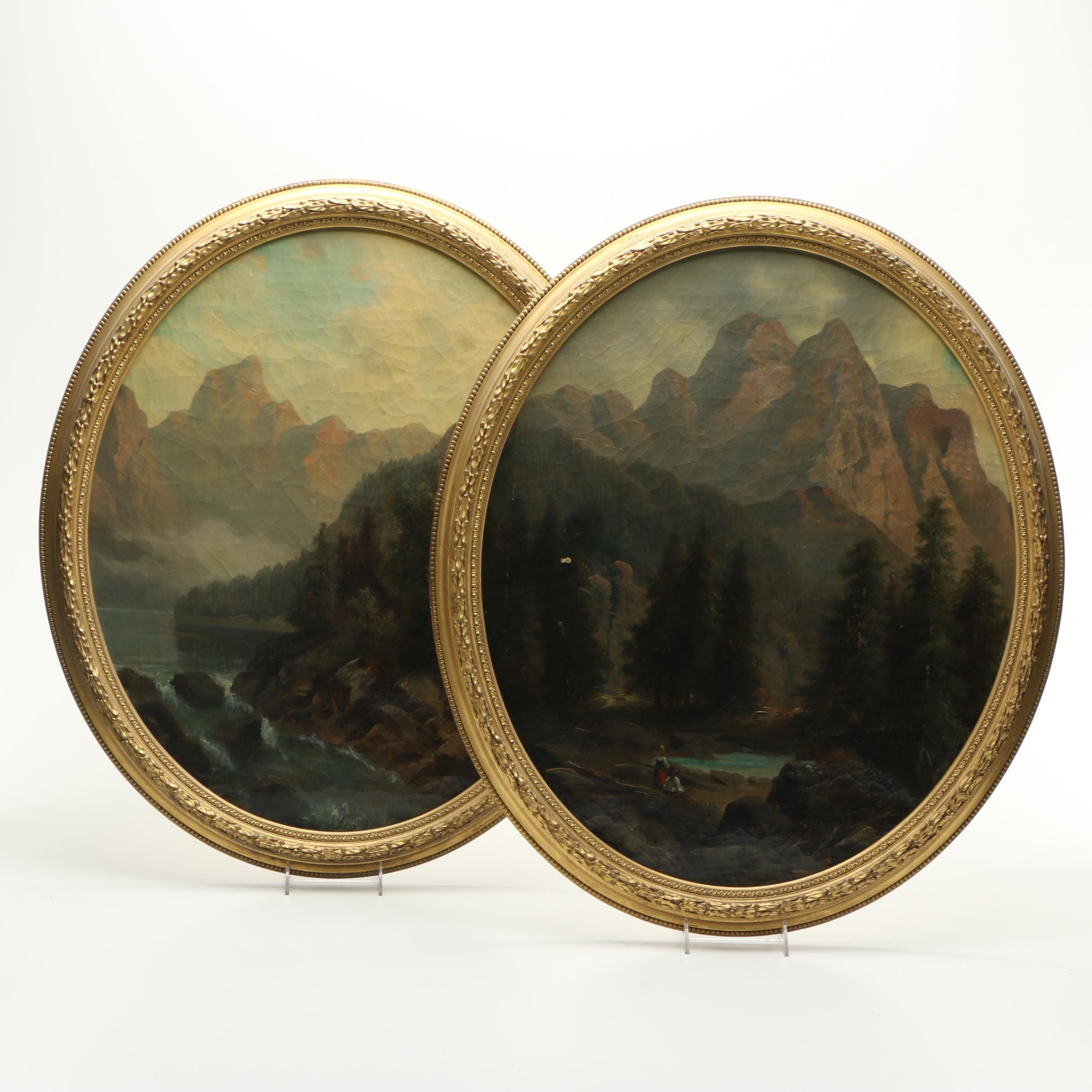 Oil Paintings on Canvas of Mountain Landscapes