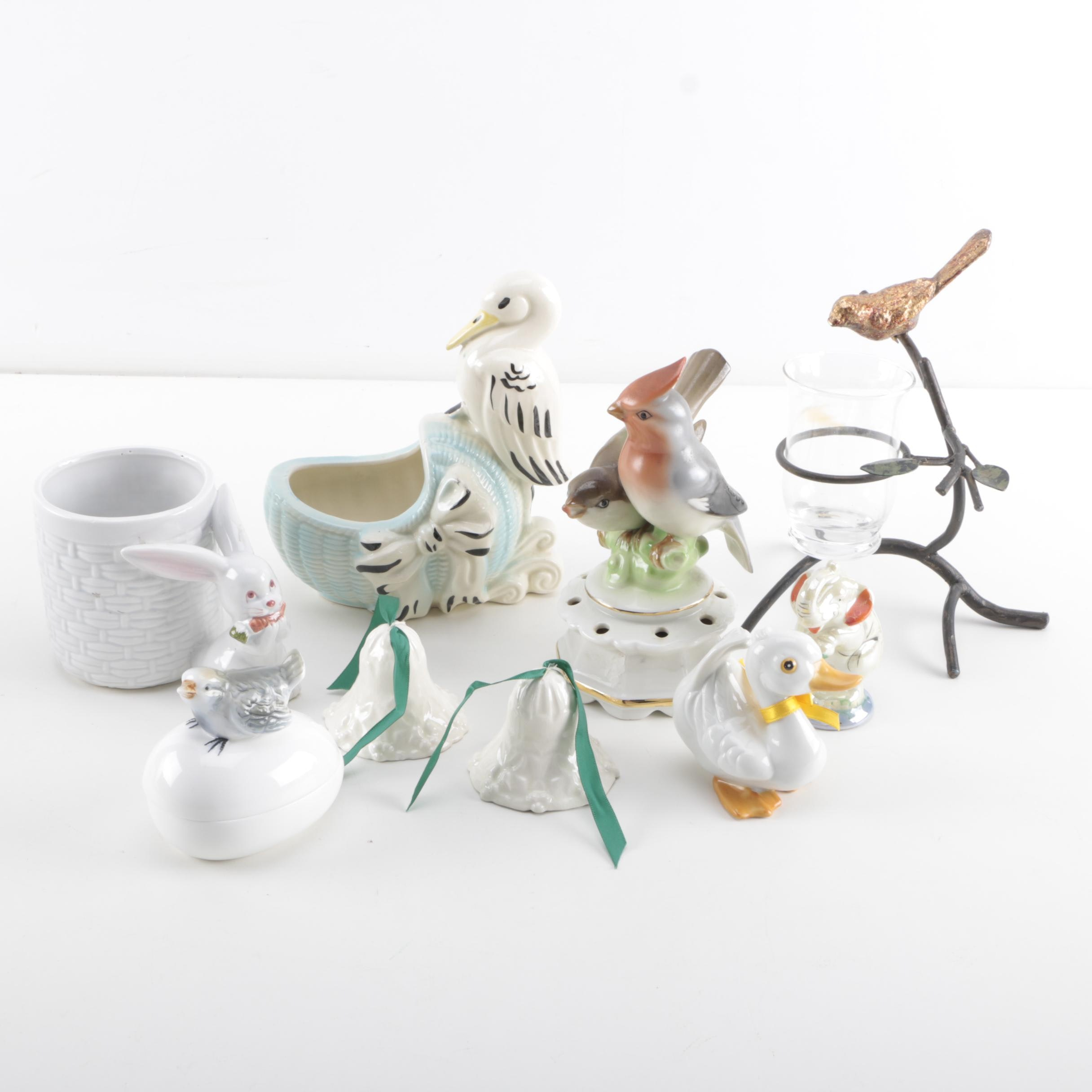 Assortment of Ceramic Animal Figurines Including Fitz and Floyd and More