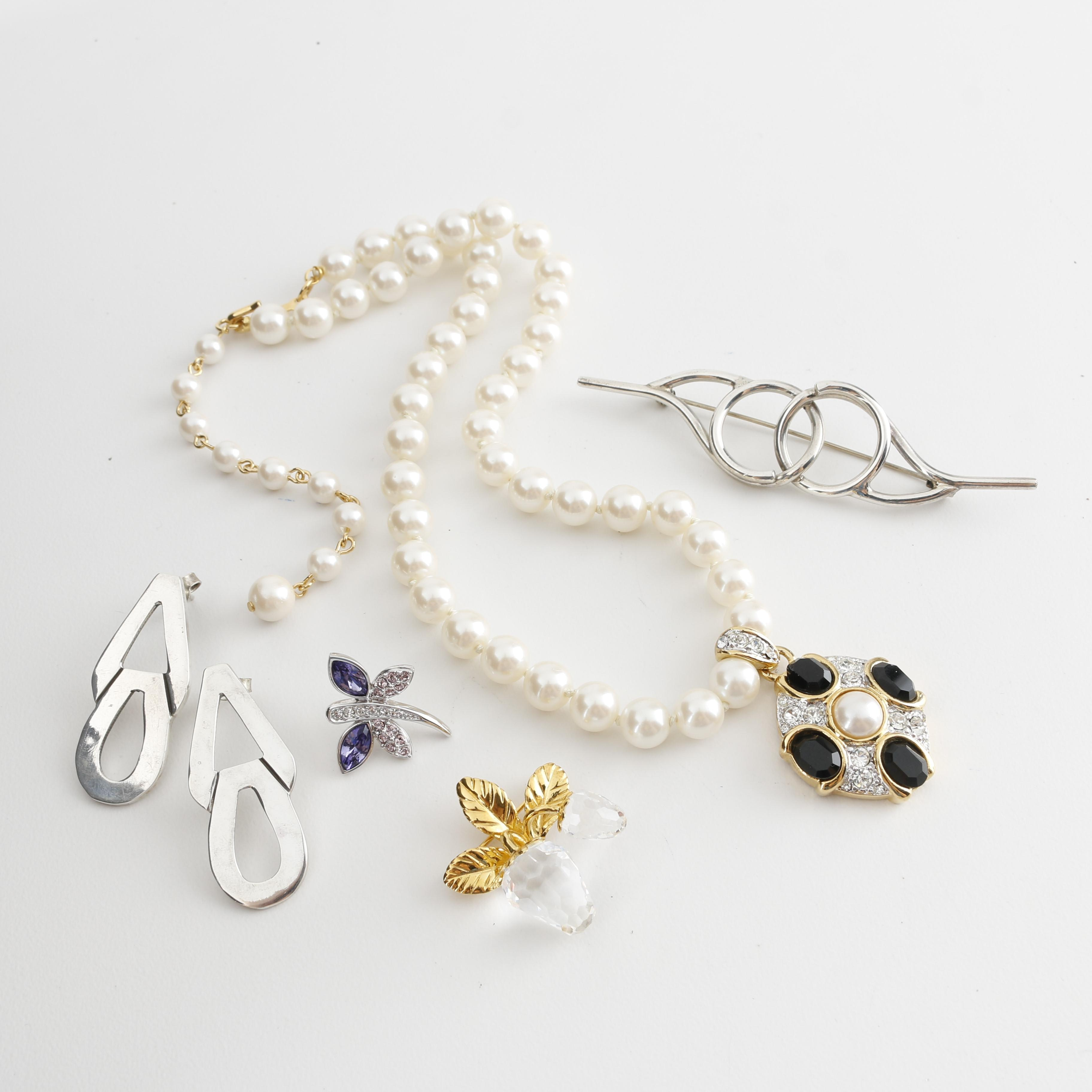 Fashion Jewelry Assortment Including Swarovski and Sterling Silver