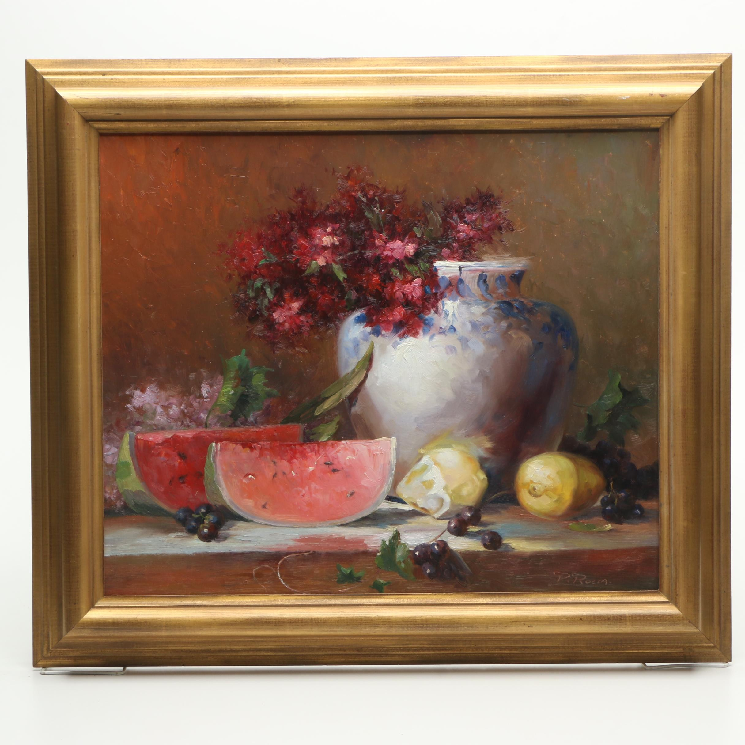 P. Rocca Oil Painting on Canvas of Still Life with Flowers and Fruit