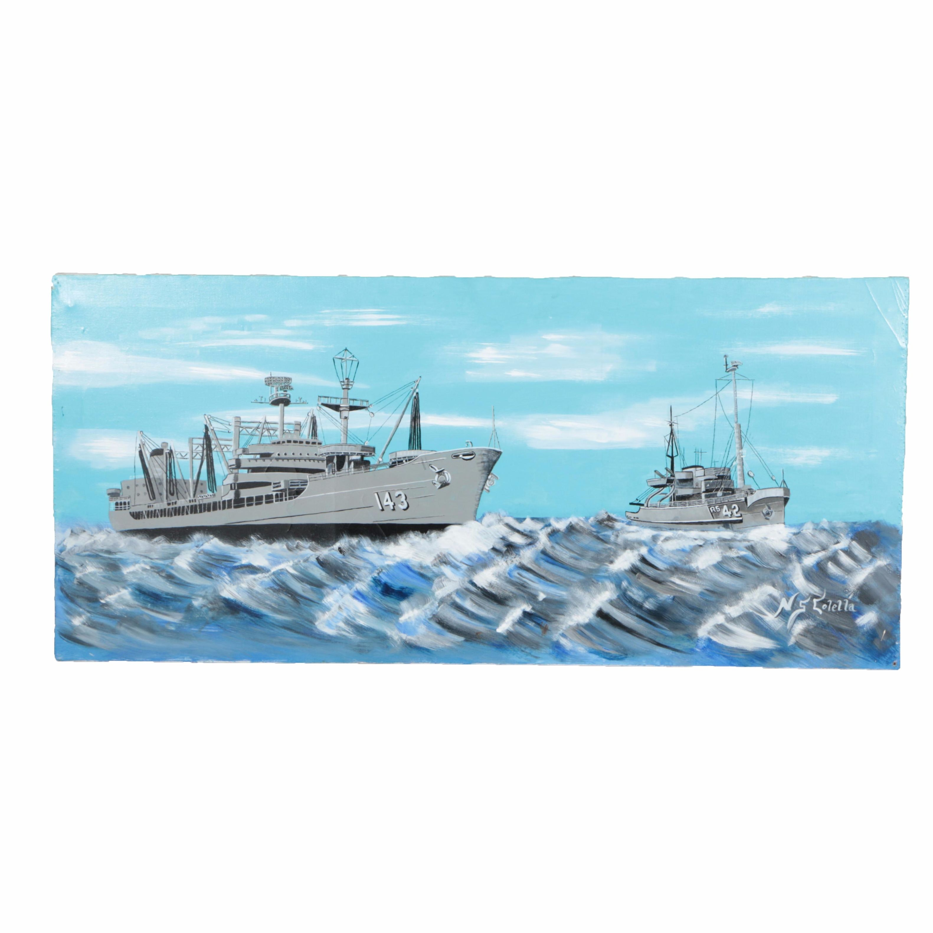 N.S. Colella Acrylic Painting on Canvas of Naval Ships