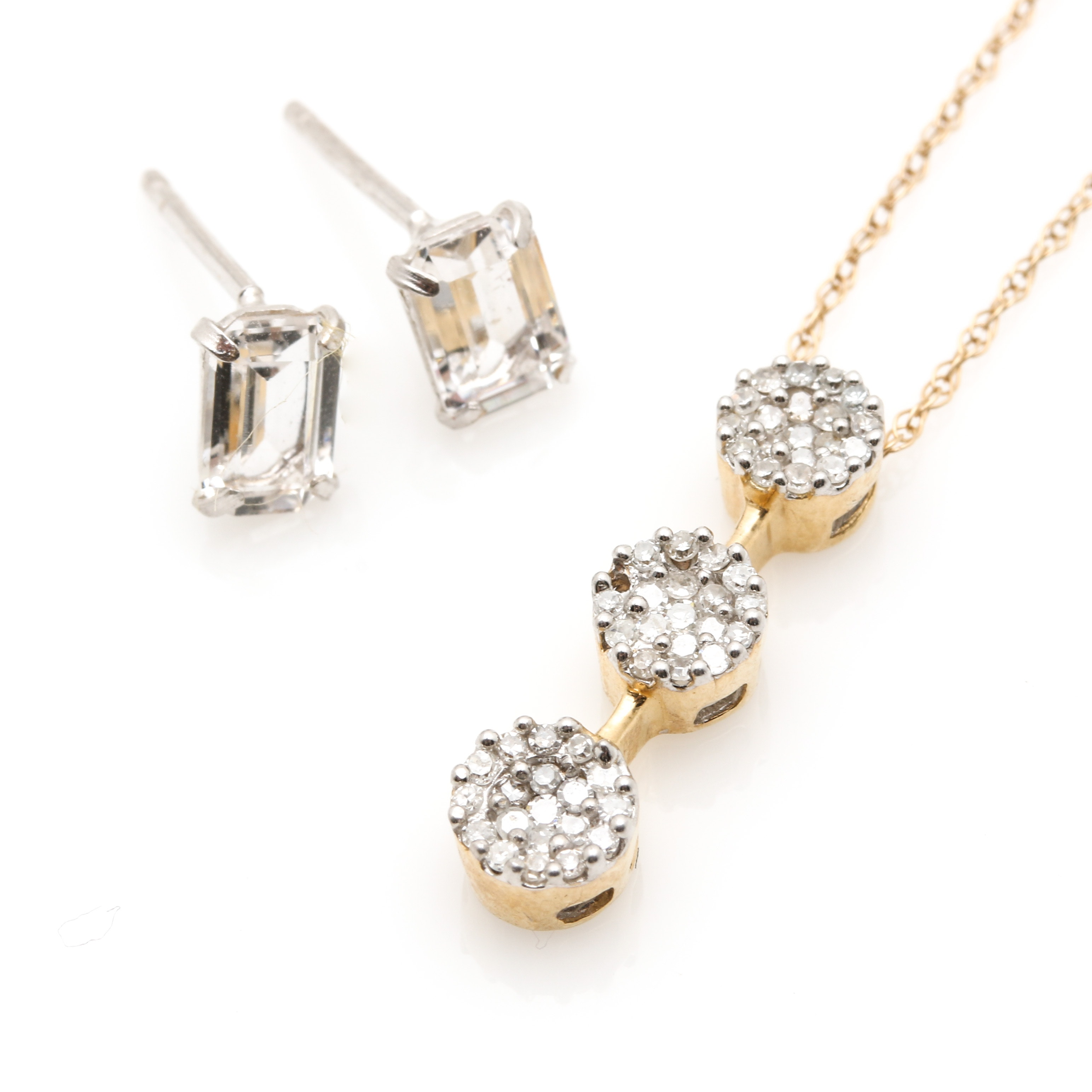 14K Two Tone Gold White Spinel and Diamond Necklace and Earrings