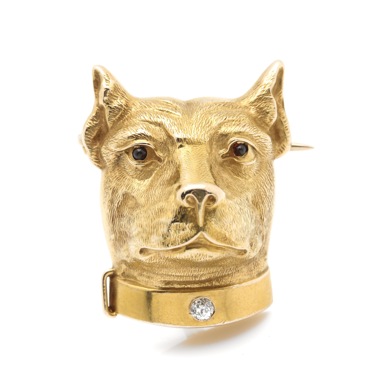 14K Yellow Gold Diamond and Garnet Staffordshire Terrier Brooch