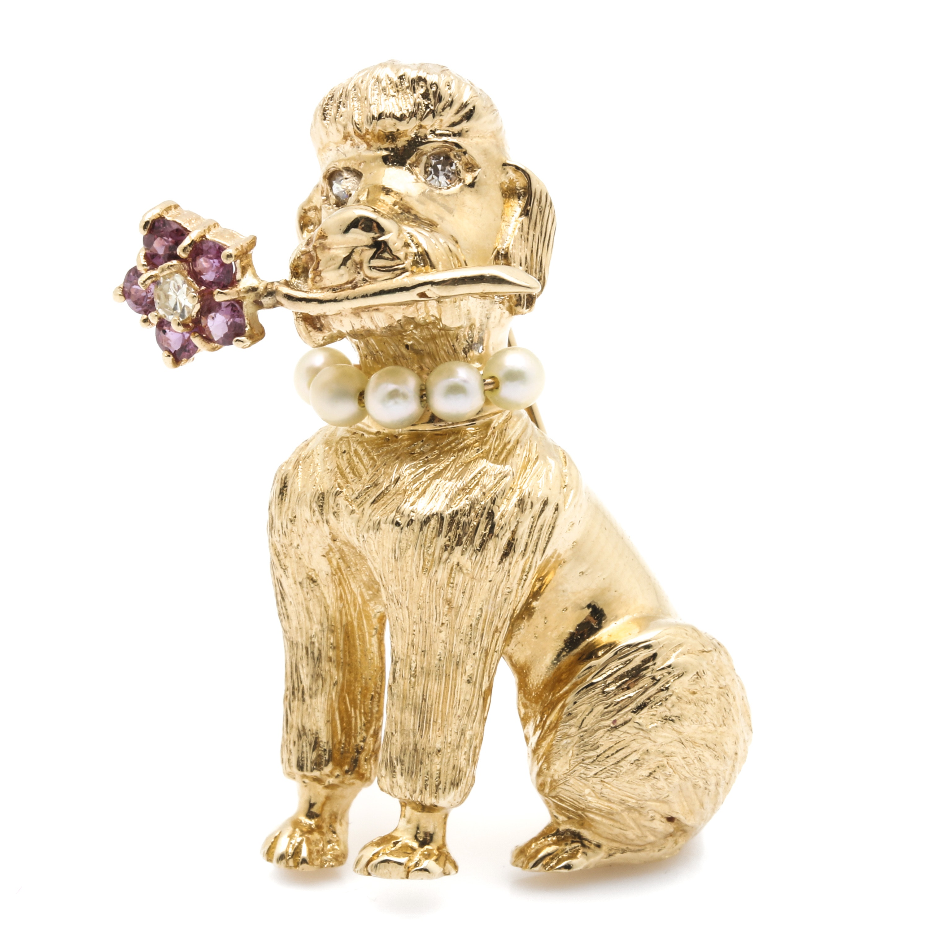 14K Yellow Gold Diamond and Gemstone Poodle Brooch