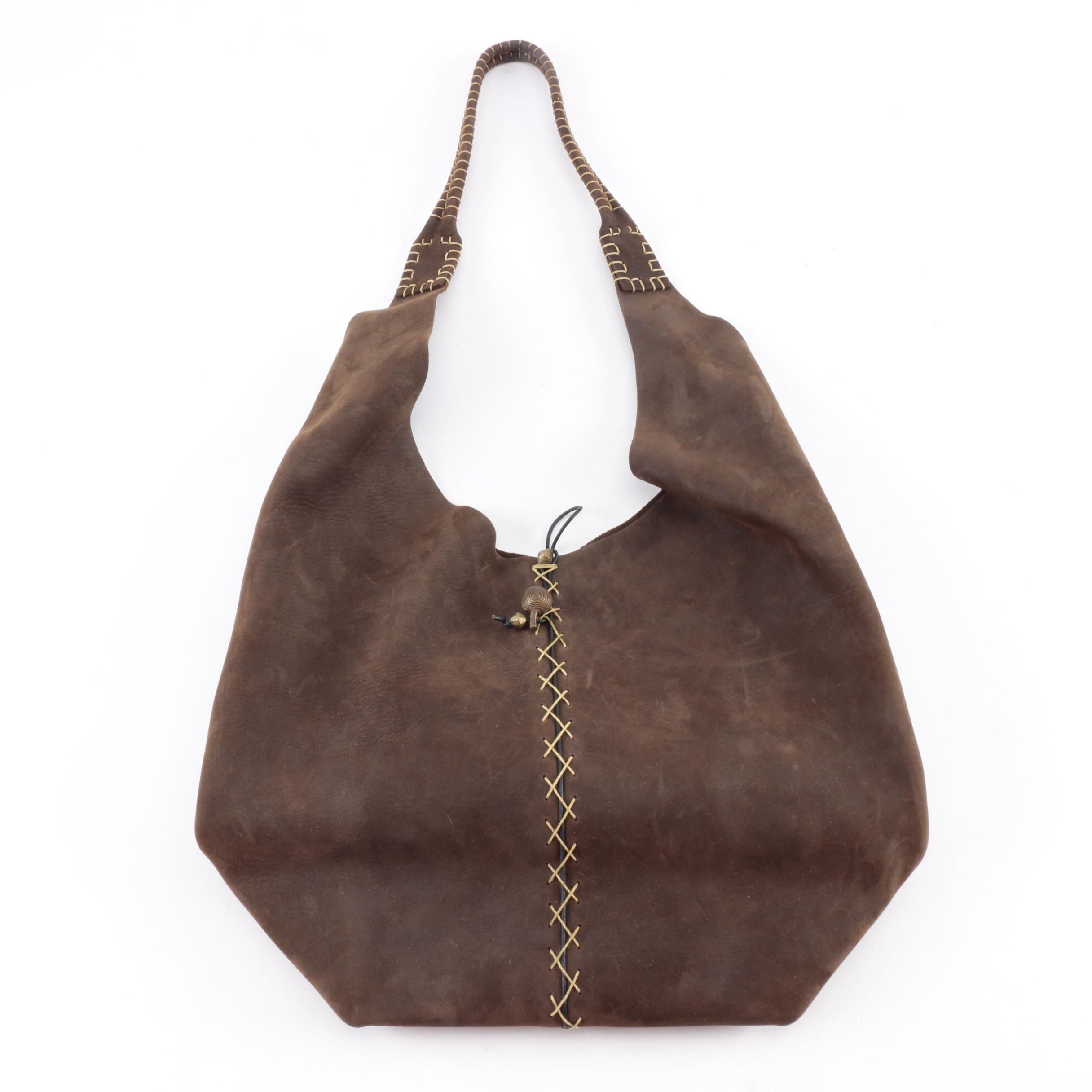 Tauro Santa Barbara Brown Leather Hobo Handbag
