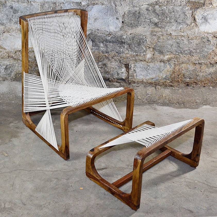 Danish Modern Style String Chair With Footrest ...