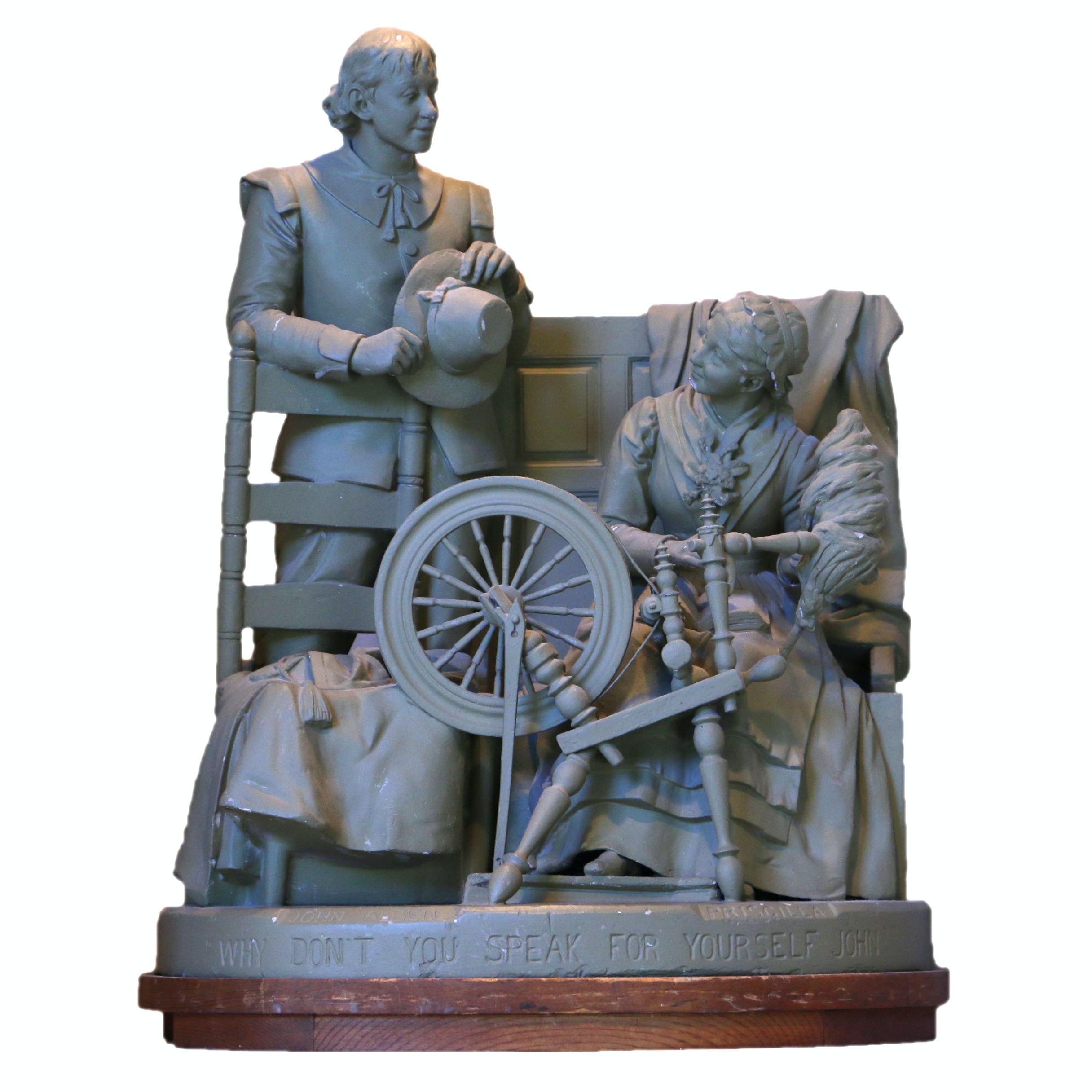 John Alden and Priscilla Mullins Resin Sculpture after John Rogers