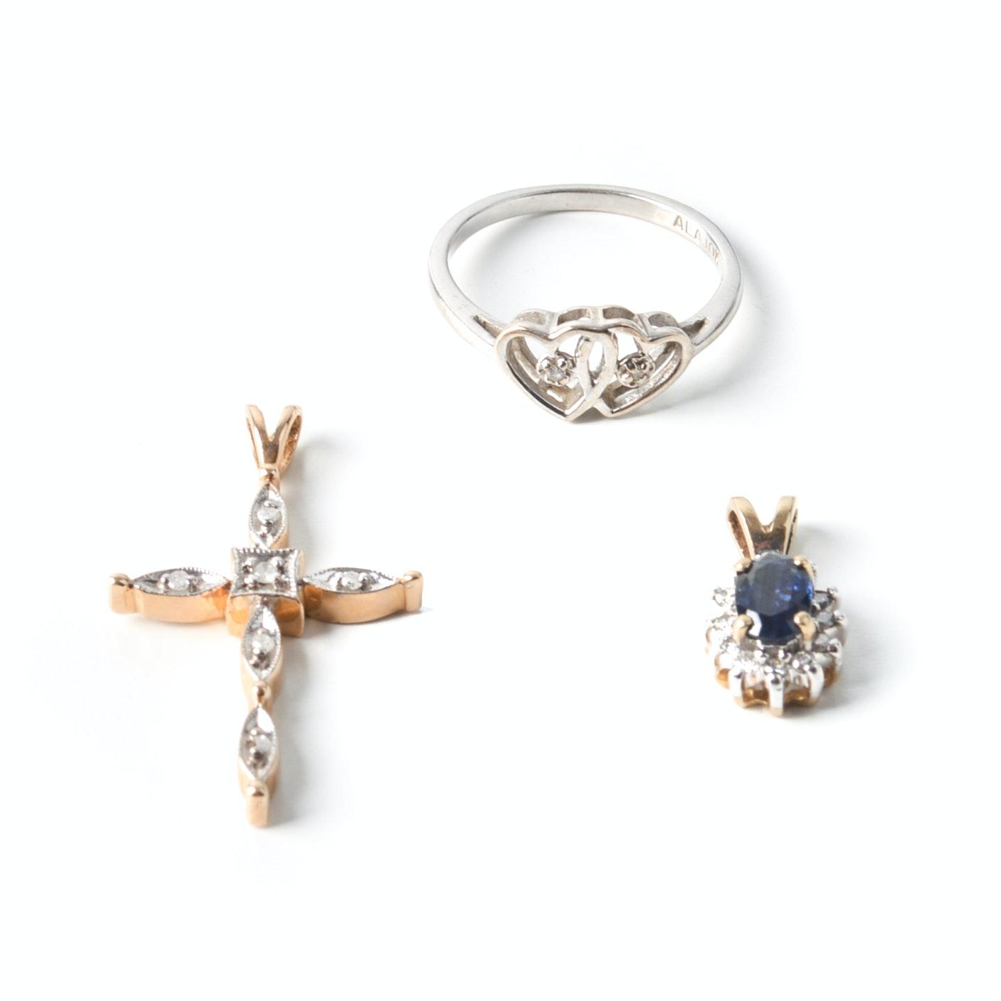 10K Gold Diamond Pendants and Ring