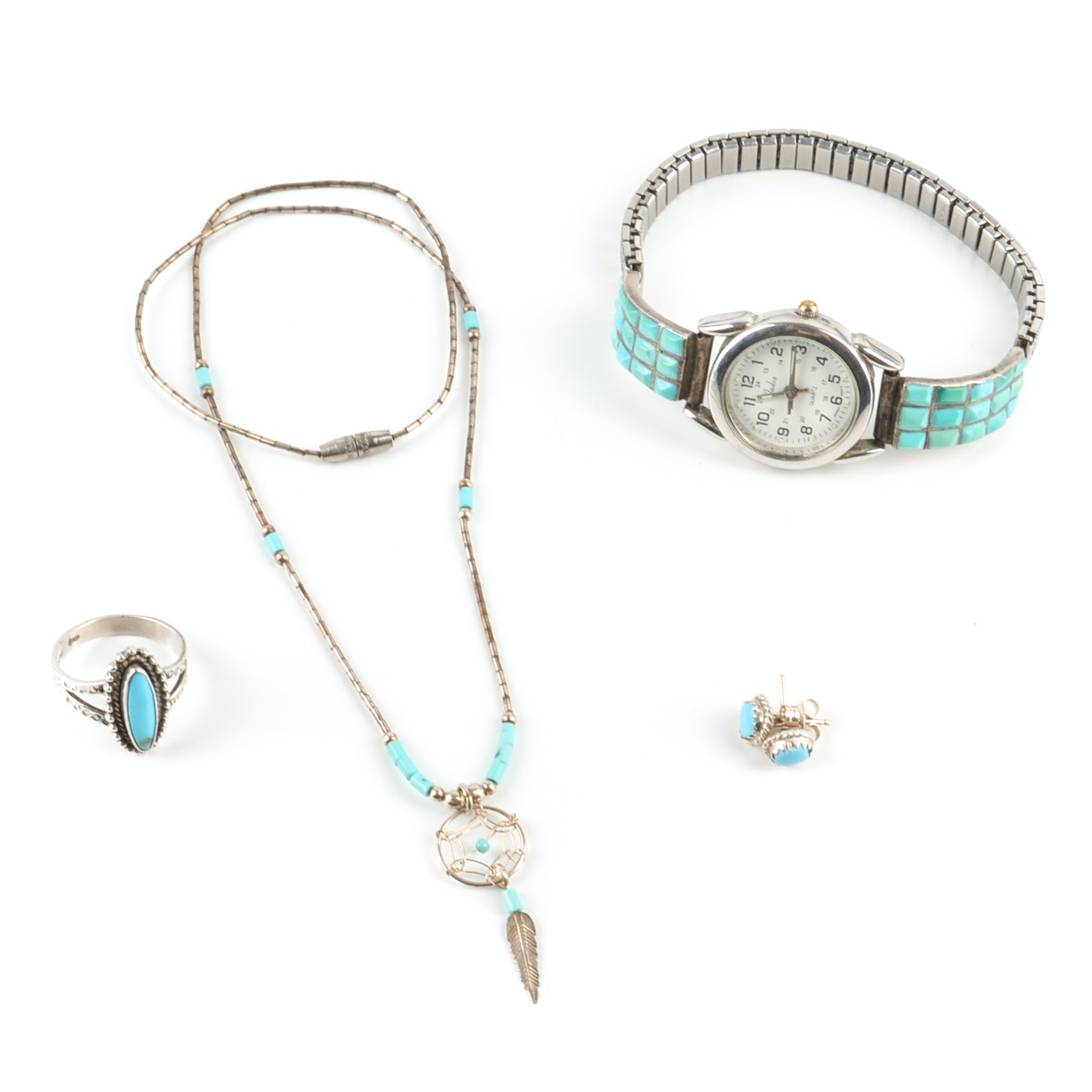 Sterling Silver Turquoise Necklace, Wristwatch, Earrings and Ring