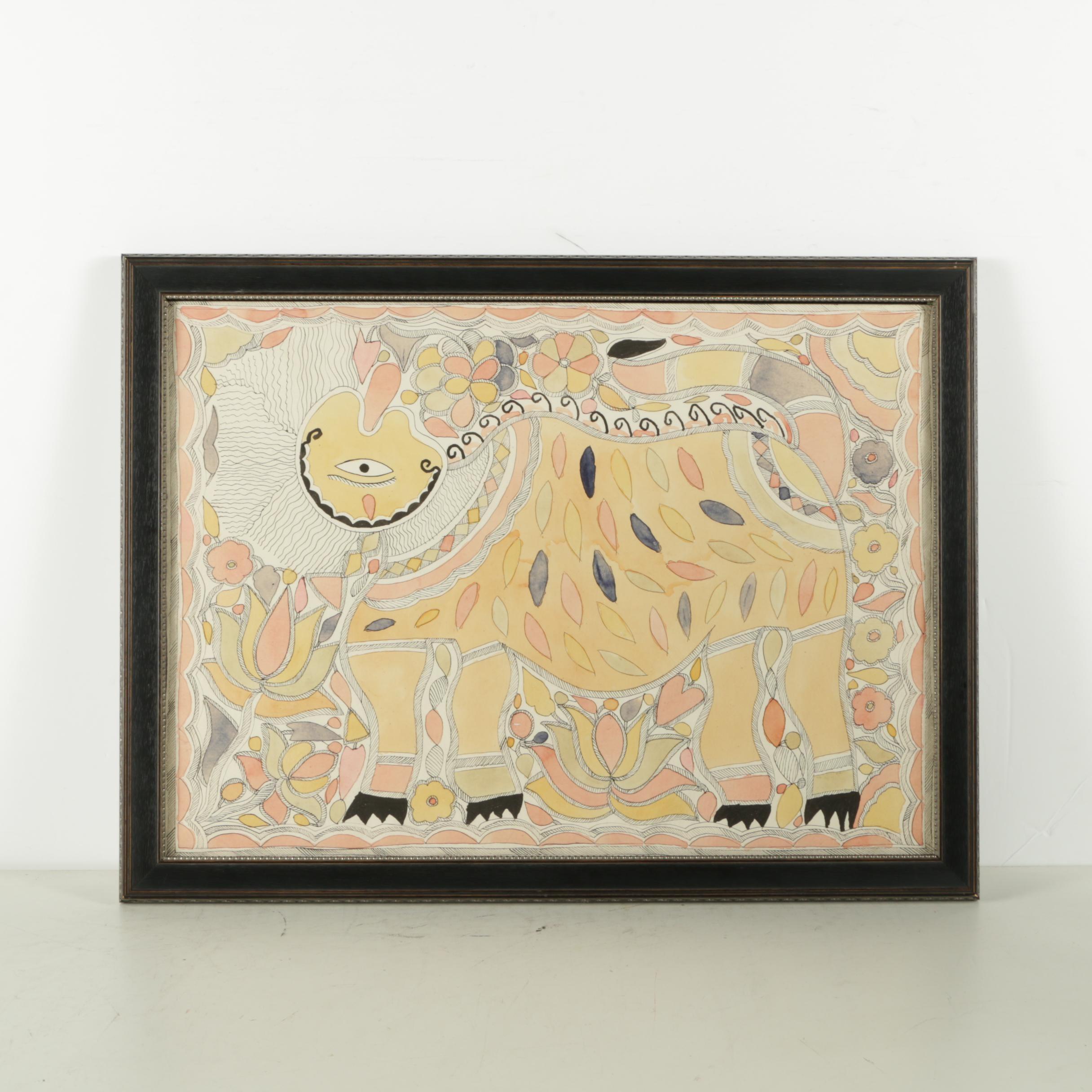 Madhubani Painting of a Lion