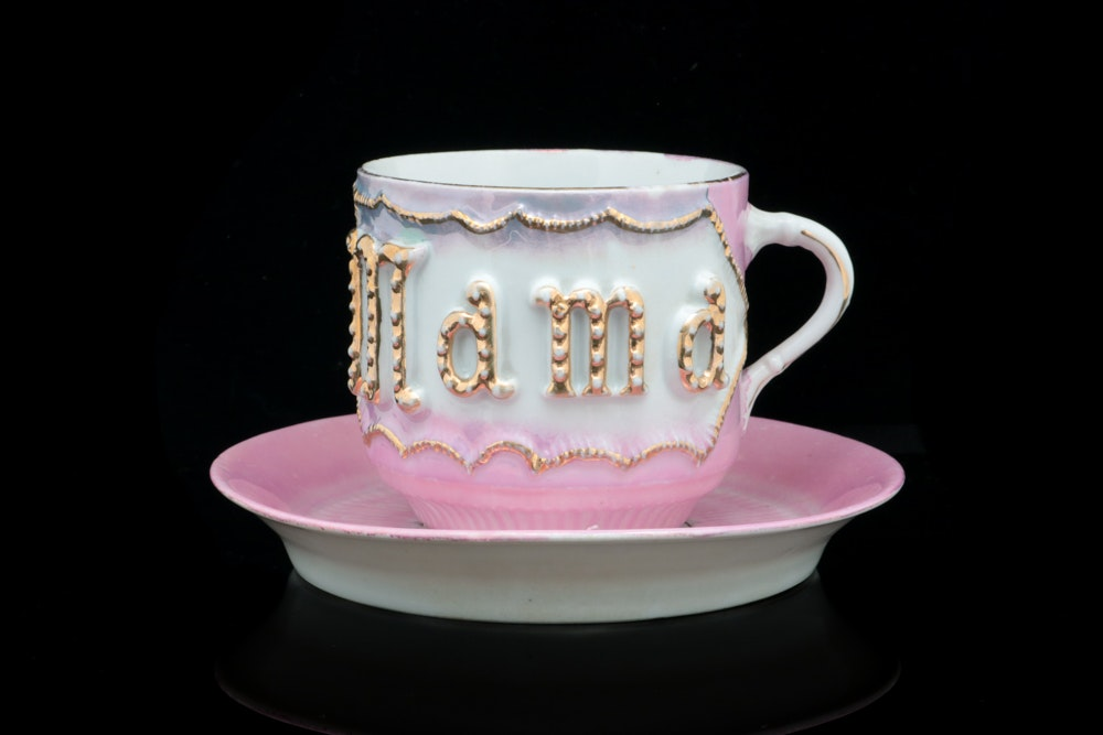 "Vintage German ""MAMA"" Tea Cup and Saucer"