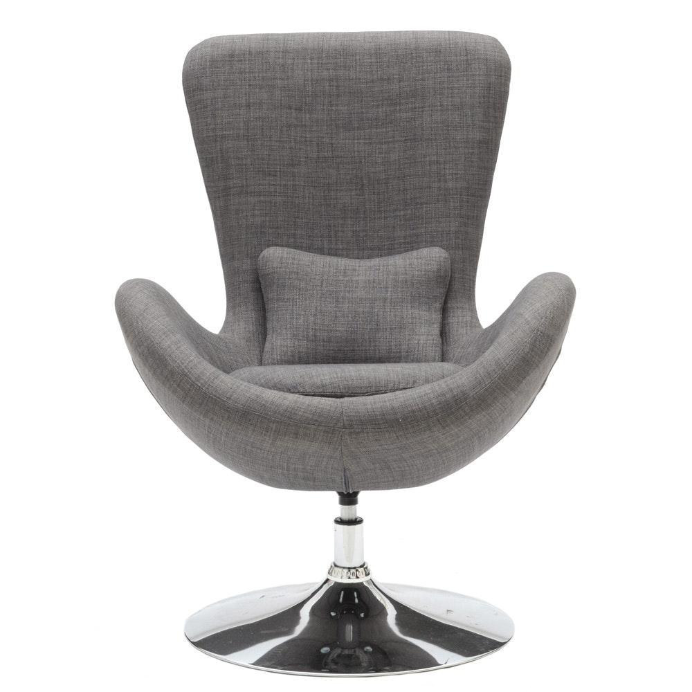 Gray Wool Swivel Chair
