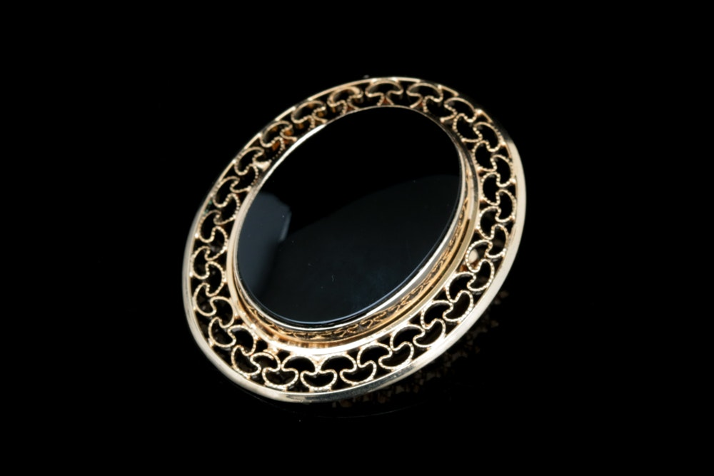 Burt Cassell 12K Yellow Gold Filled and Black Chalcedony Brooch