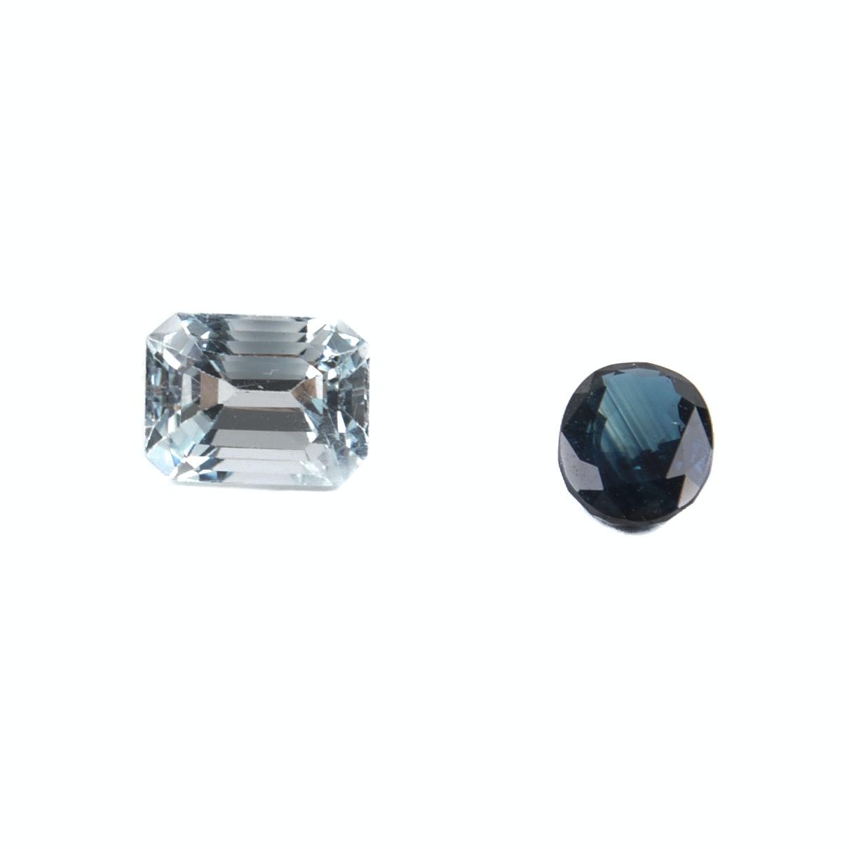 Loose 2.08 Carat Aquamarine and 1.11 Carat Sapphire Gemstones