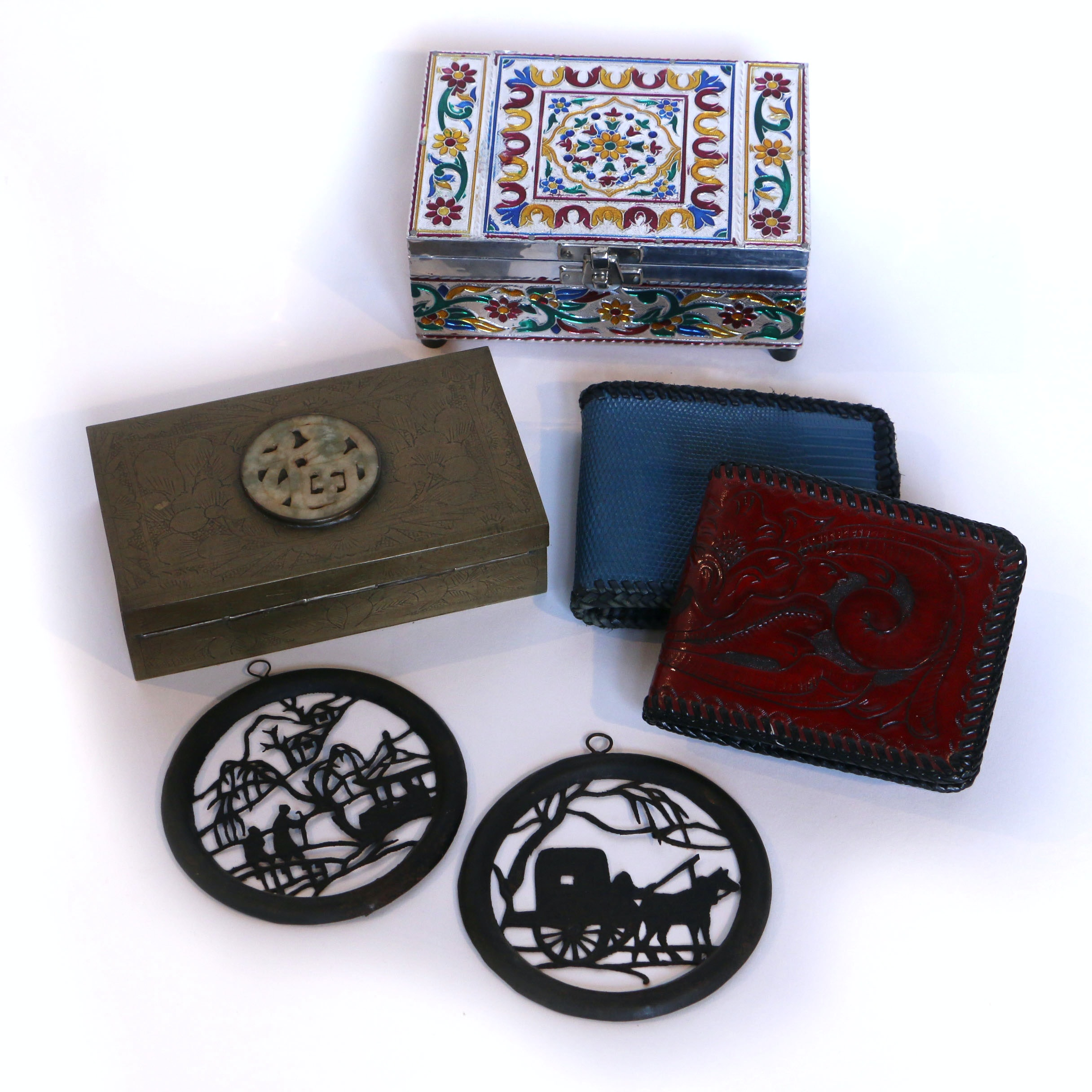 East Asian Trinket Boxes, Wall Medallions and Wallets