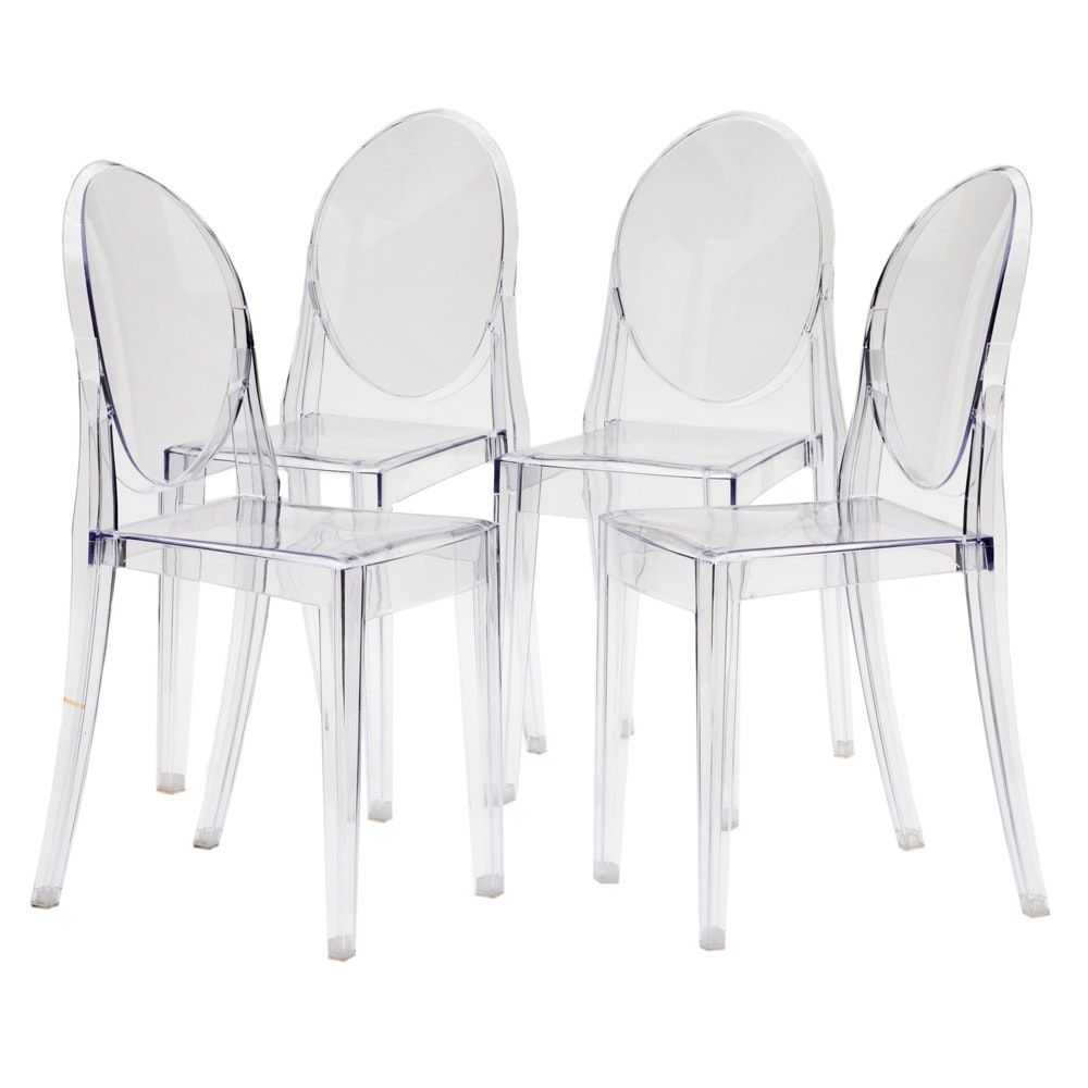 """Set of Zuo Modern """"Ghost"""" Transparent Dining Chairs"""