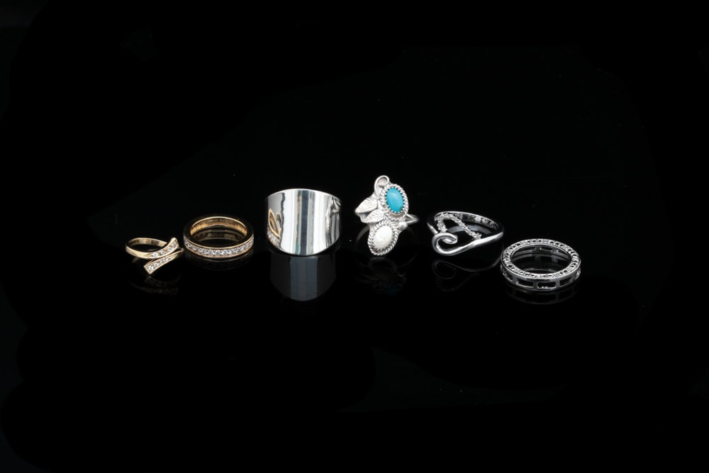 Assortment of Sterling Silver Jewelry Including Diamonds