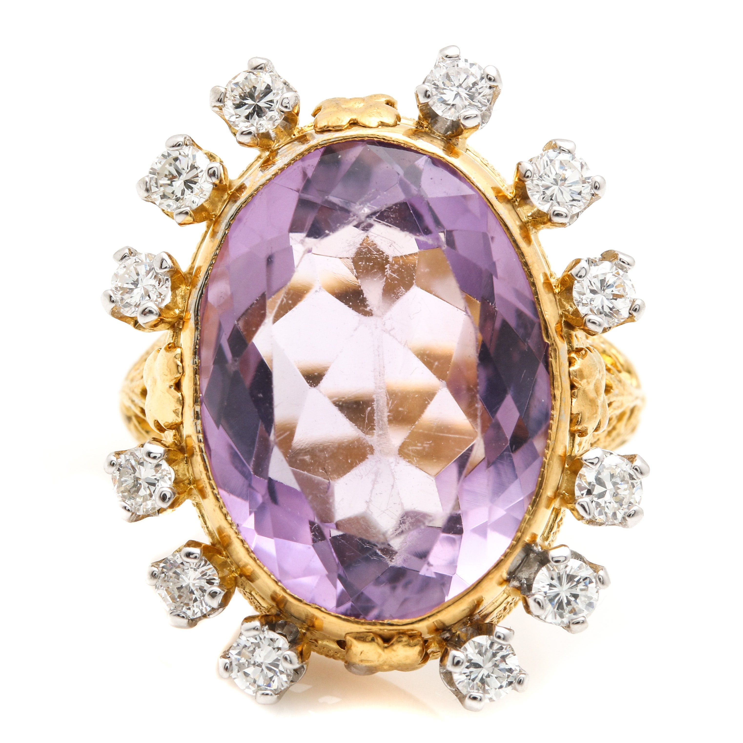 14K Yellow Gold Amethyst and Diamond Ring With White Gold Accents