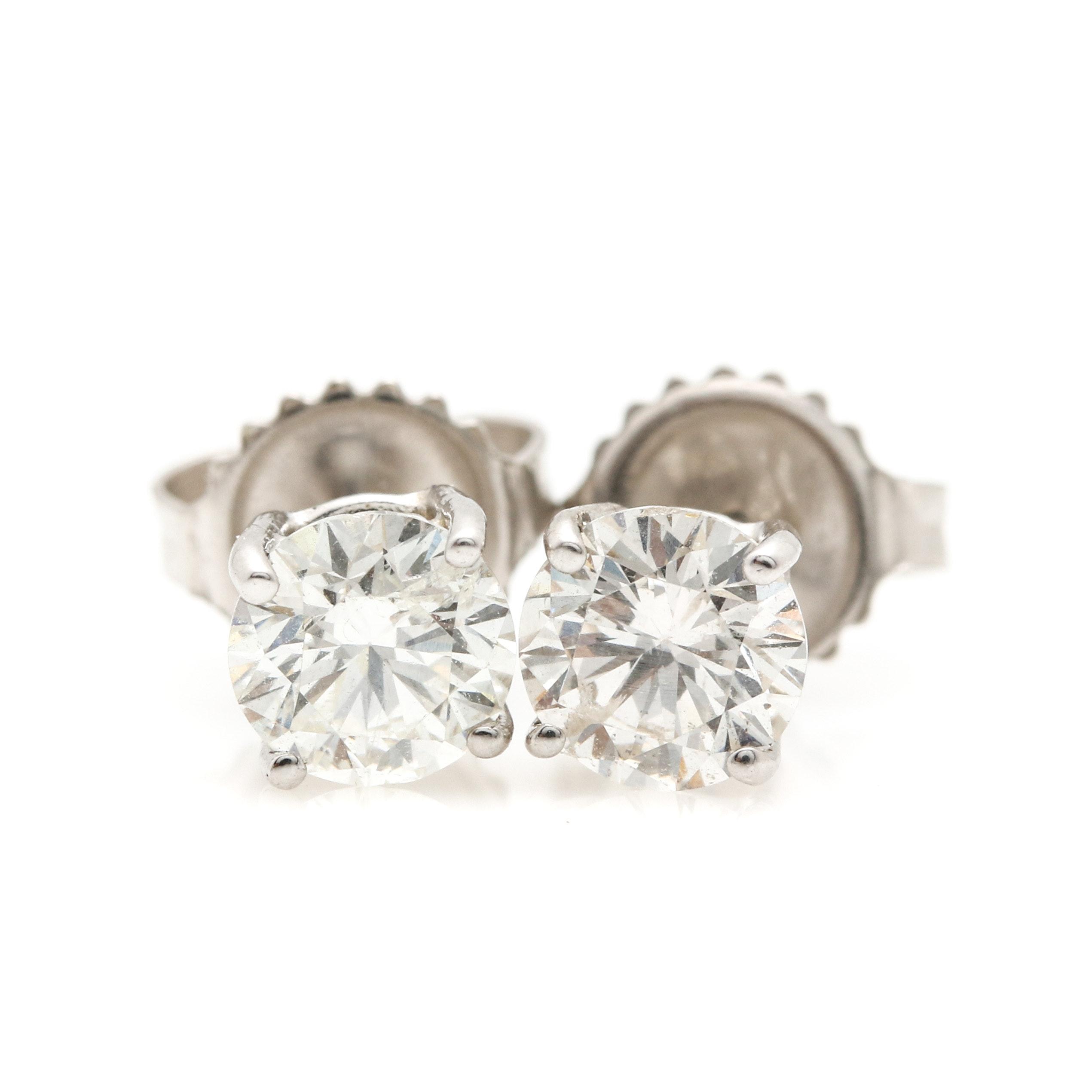 14K White Gold 1.10 CTW Diamond Earrings