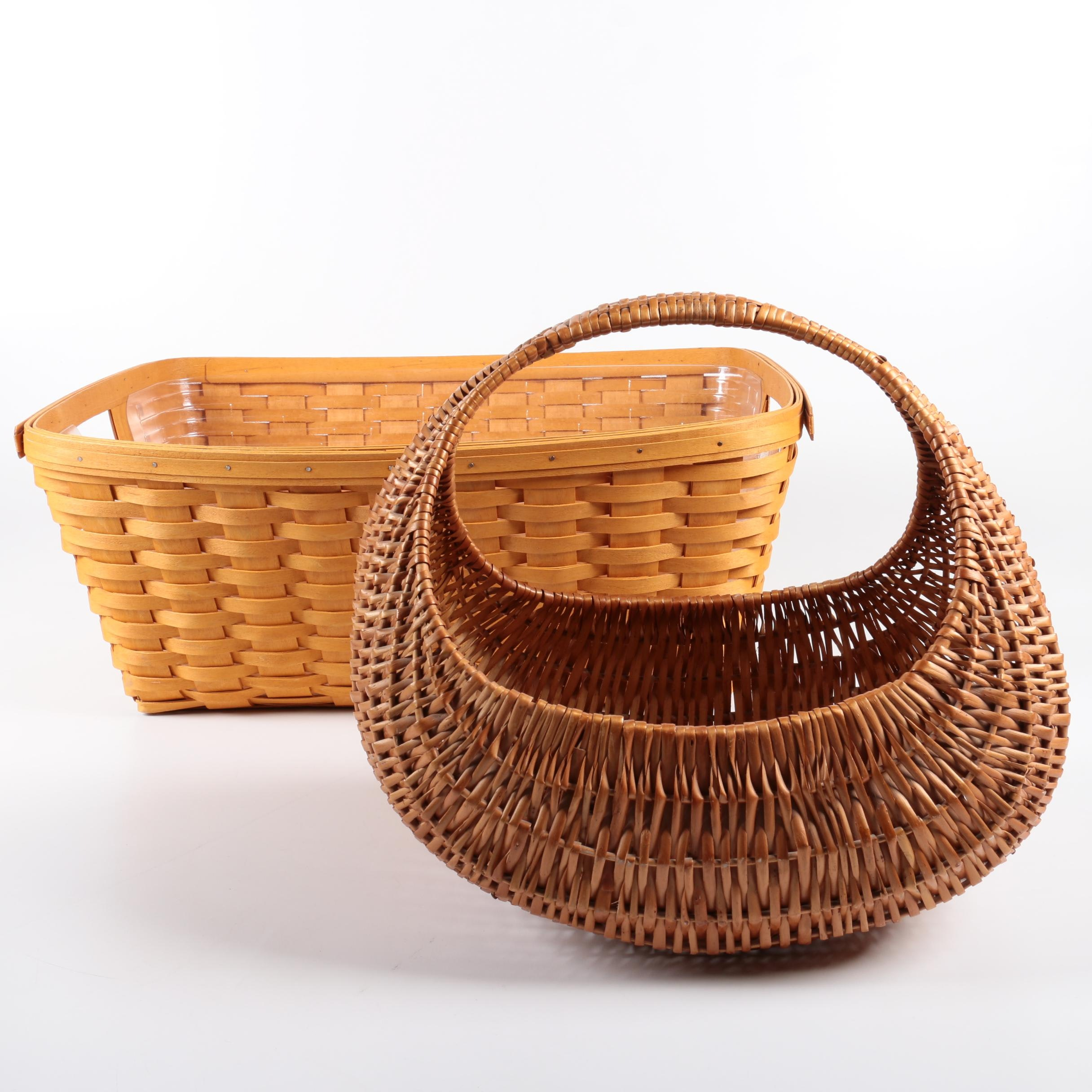 Woven Wicker and Wood Baskets Featuring Longaberger