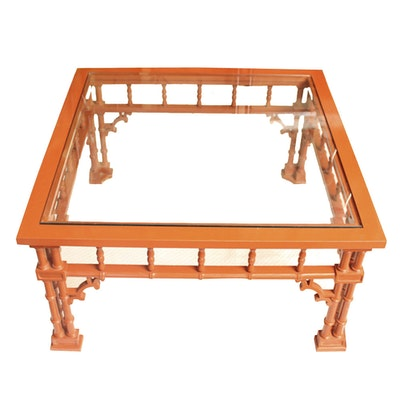 Glass Top Bamboo Style Coffee Table