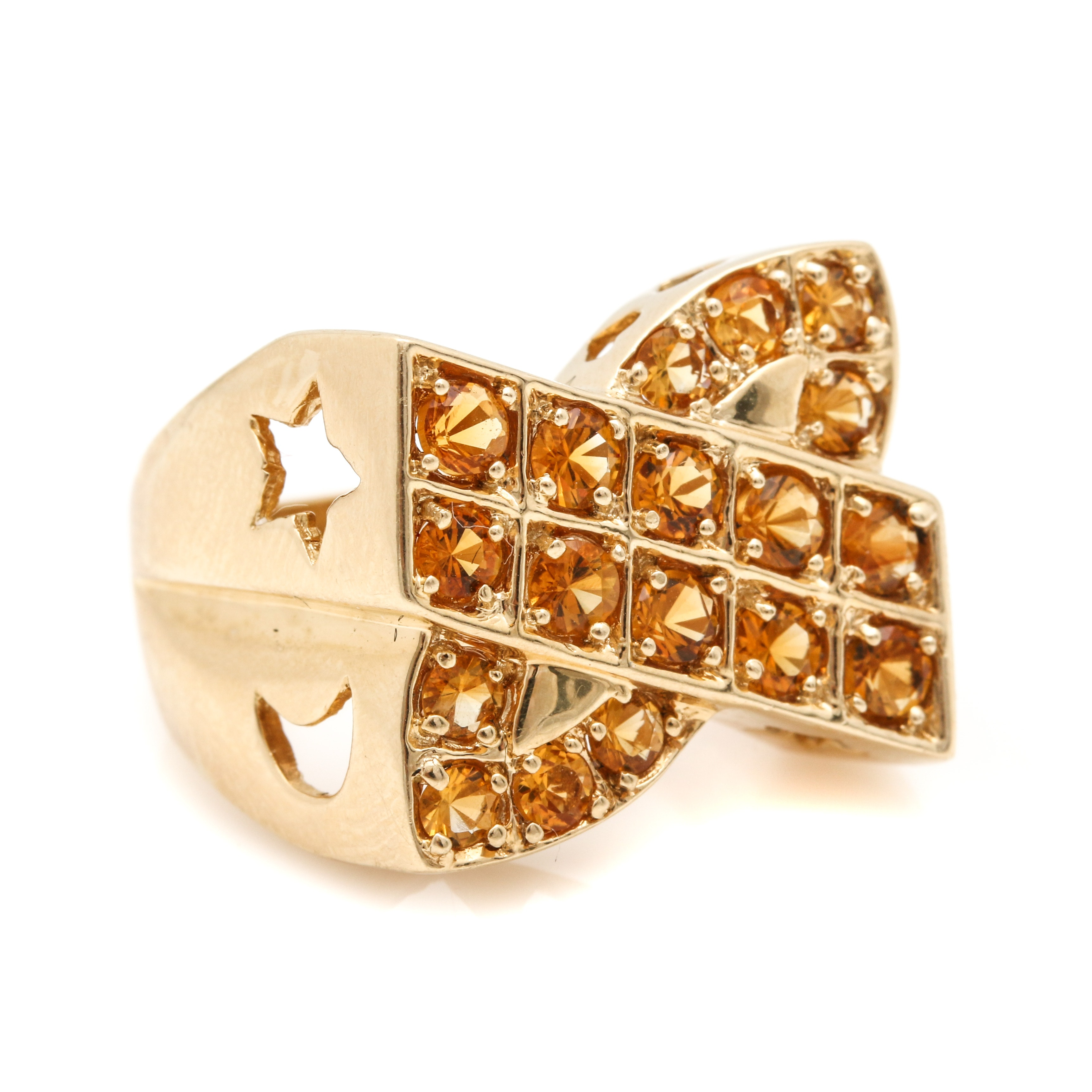 14K Yellow Gold 1.00 CTW Citrine Star and Moon Criss Cross Ring