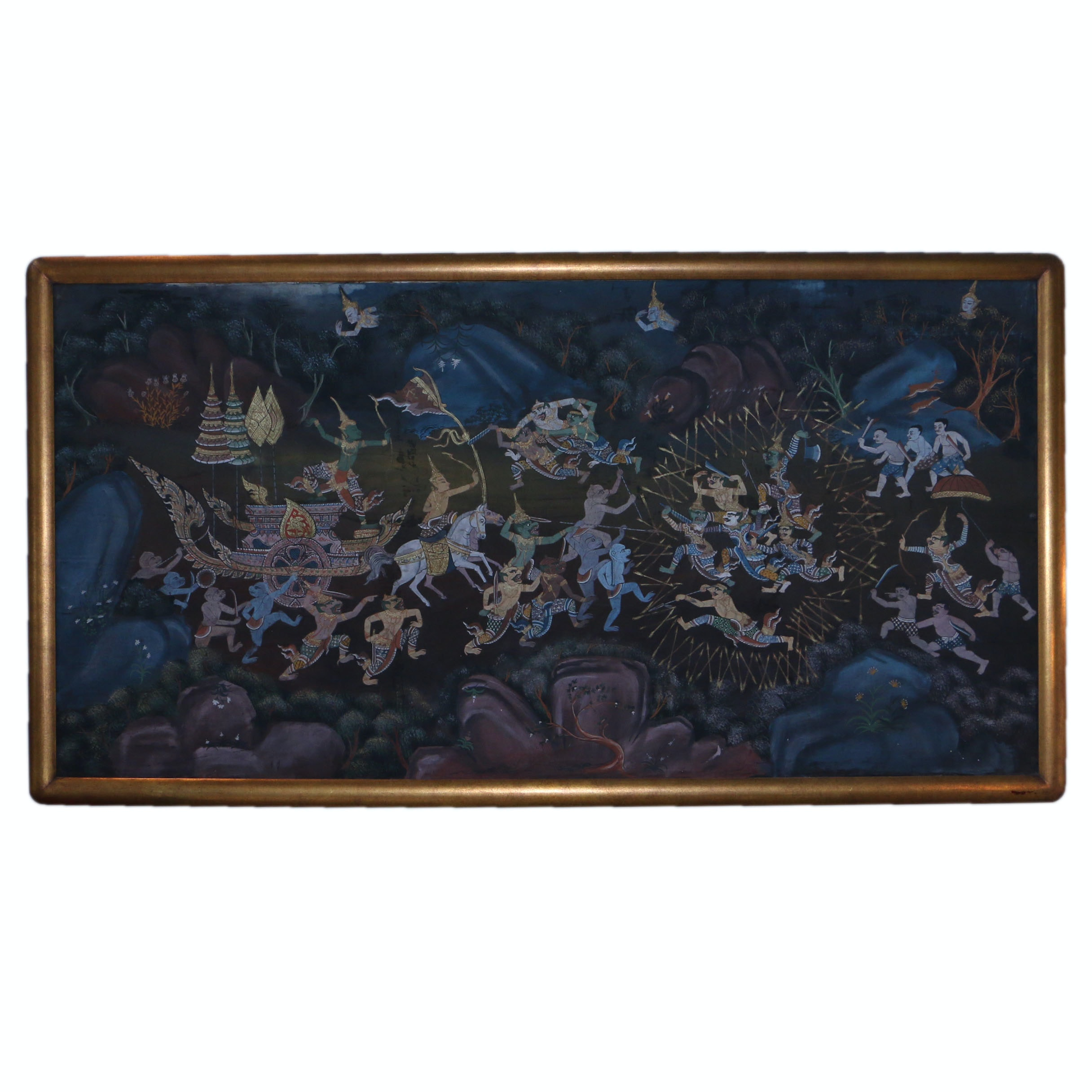 Thai Inspired Mixed Media Painting on Fabric of Battle Scene from Ramakien Epic