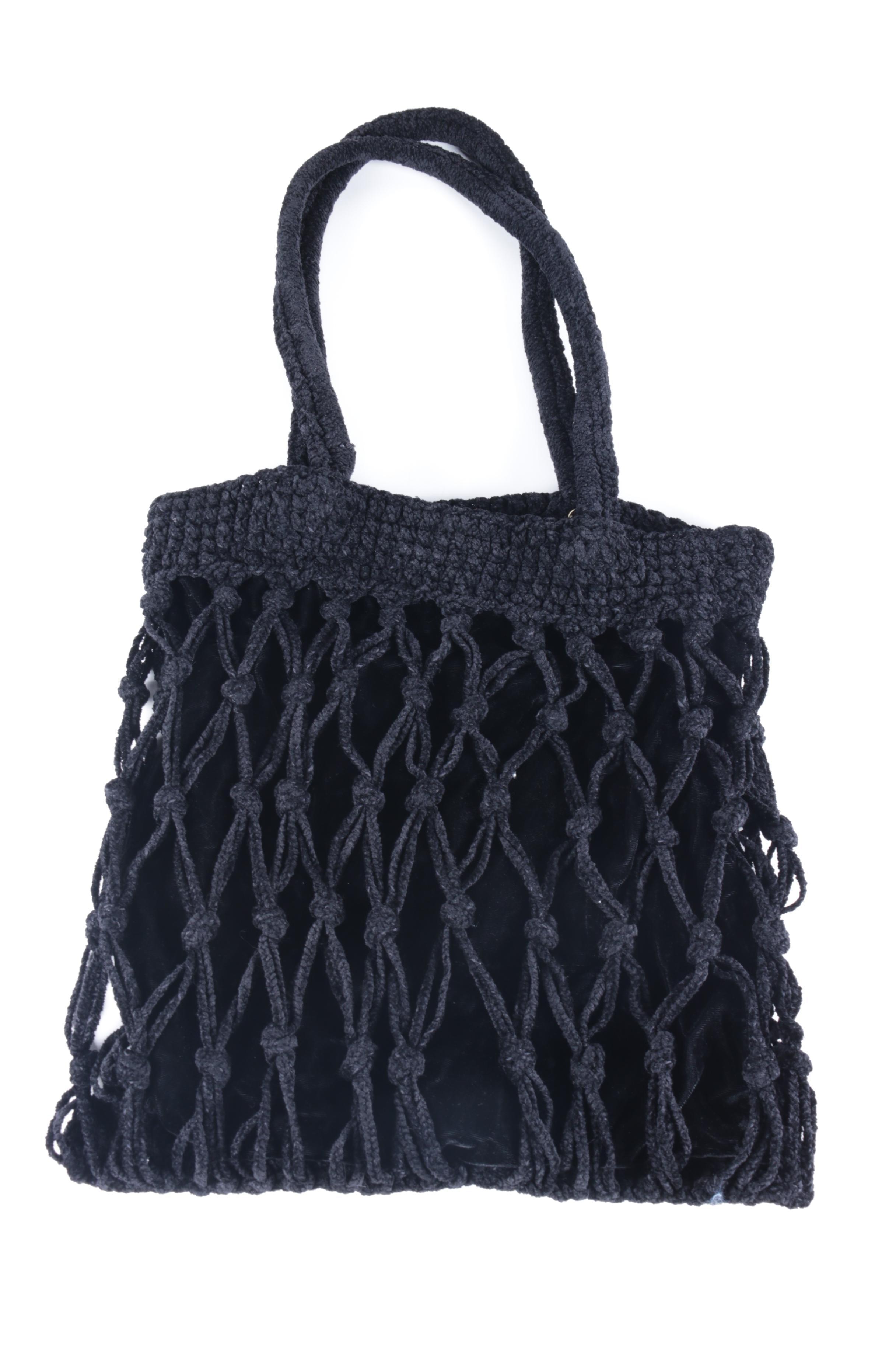 Carrie Forbes Black Macramé Handbag