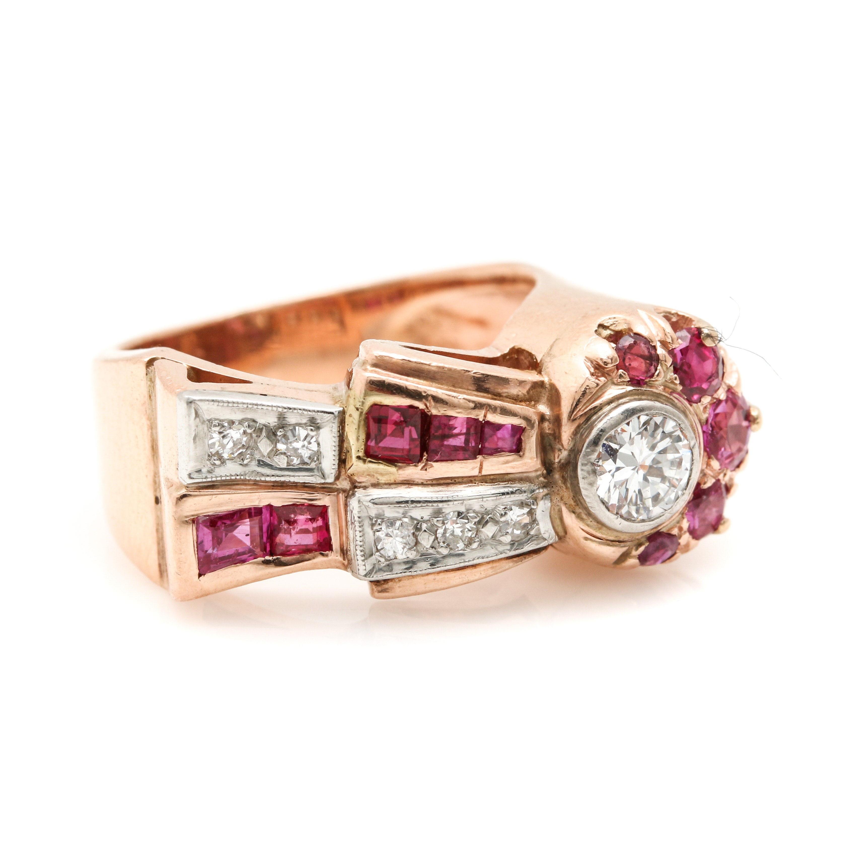 14K Rose Gold Diamond and Ruby Ribbon Motif Ring