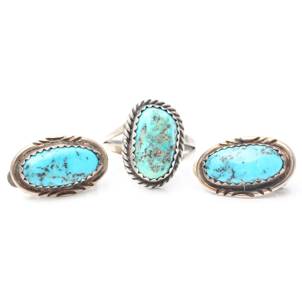 Sterling Silver Turquoise Ring and Earrings