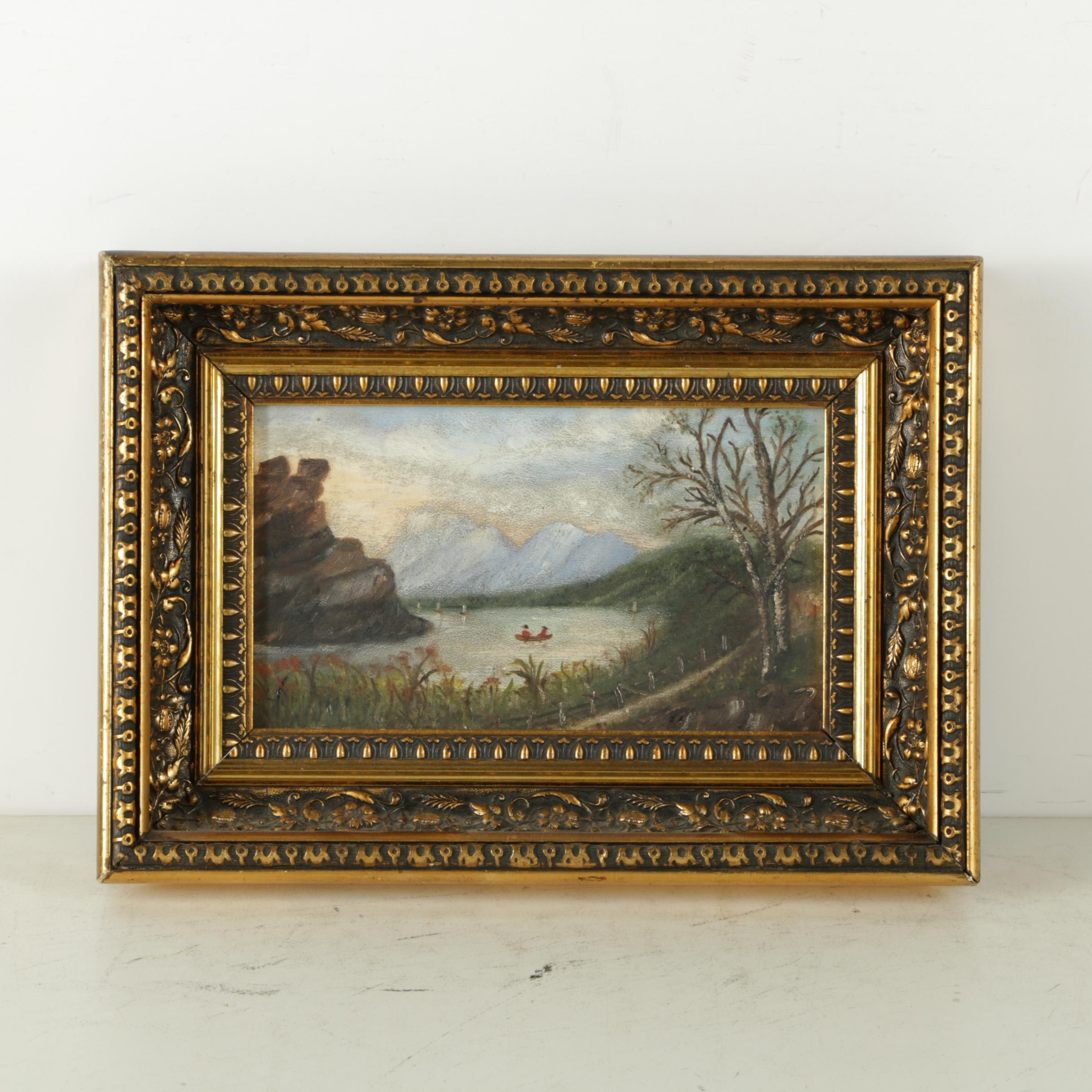 Oil Painting on Panel of a Figural Landscape