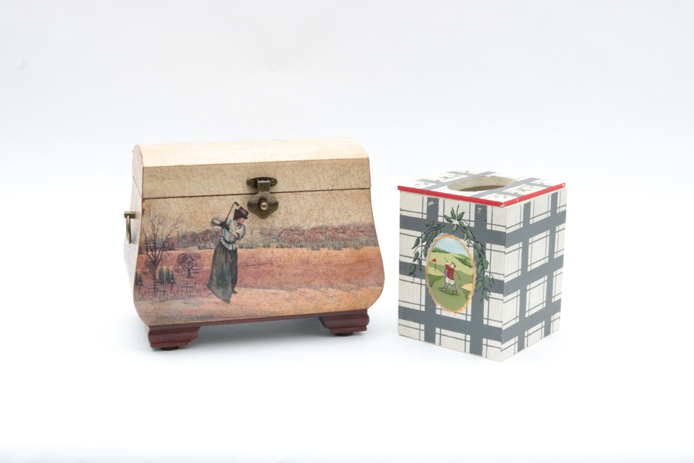 Golf Themed Tissue and Storage Boxes.