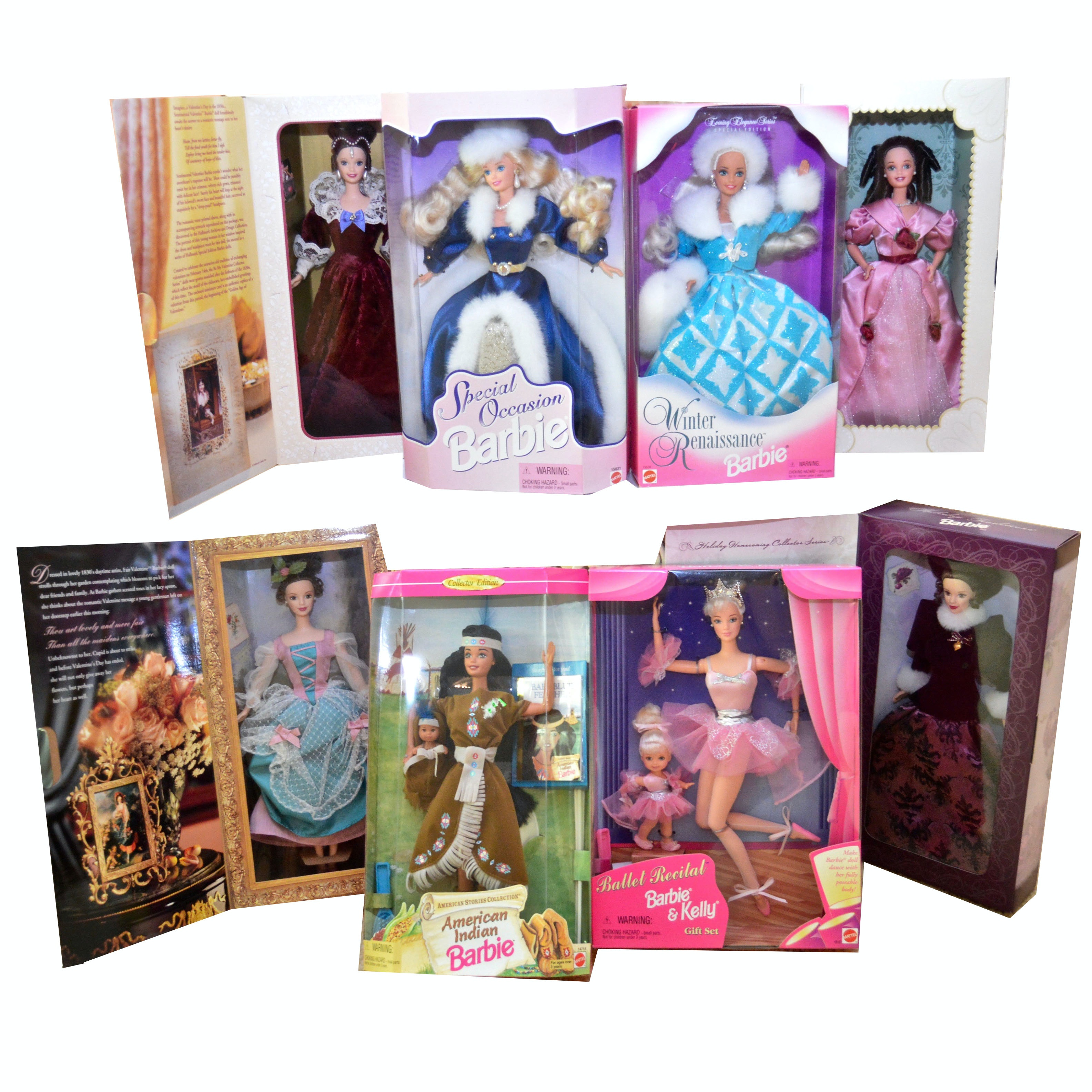Collection of Eight Vintage Barbies